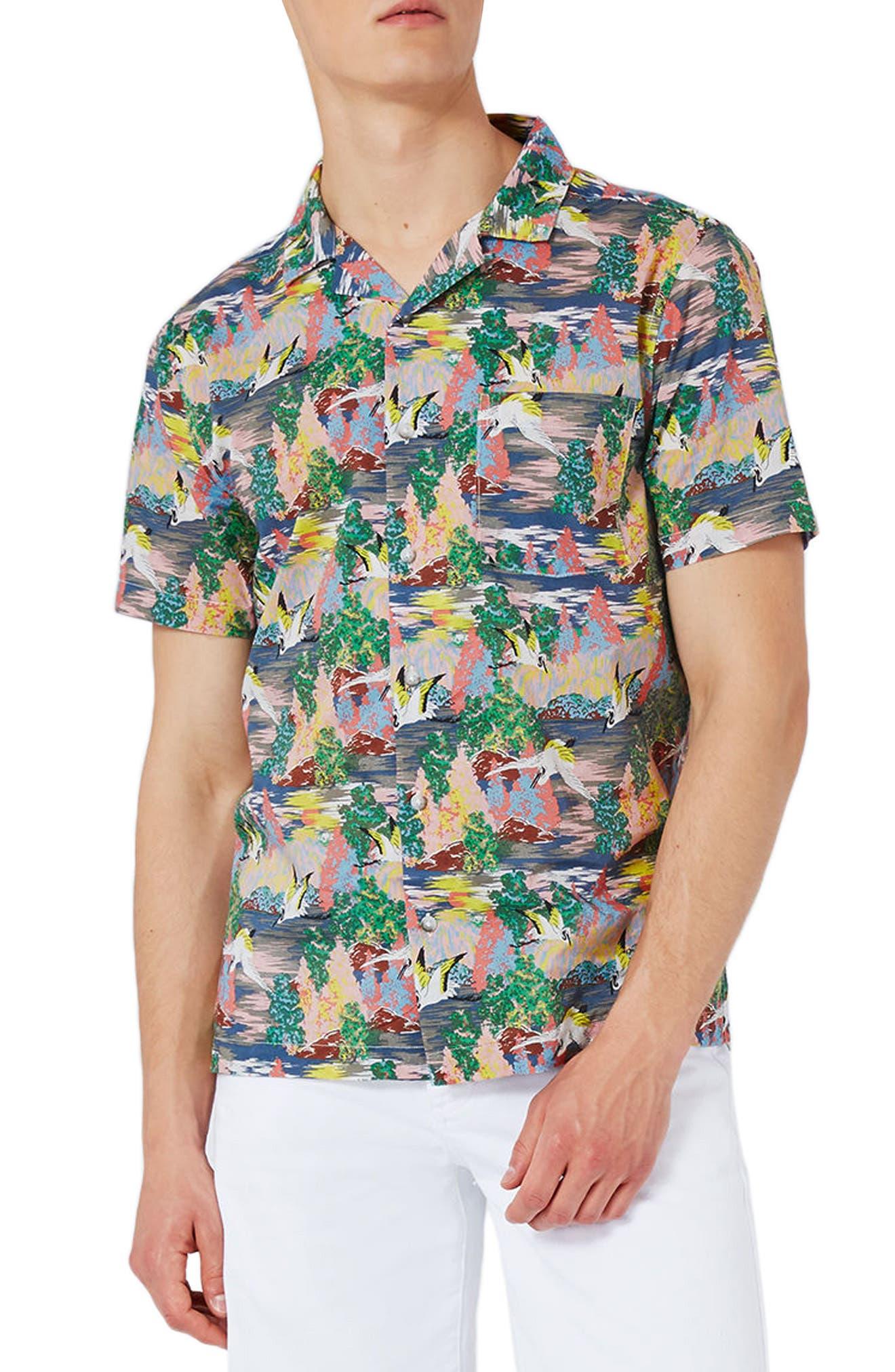 Heron Print Shirt,                         Main,                         color, Blue Multi