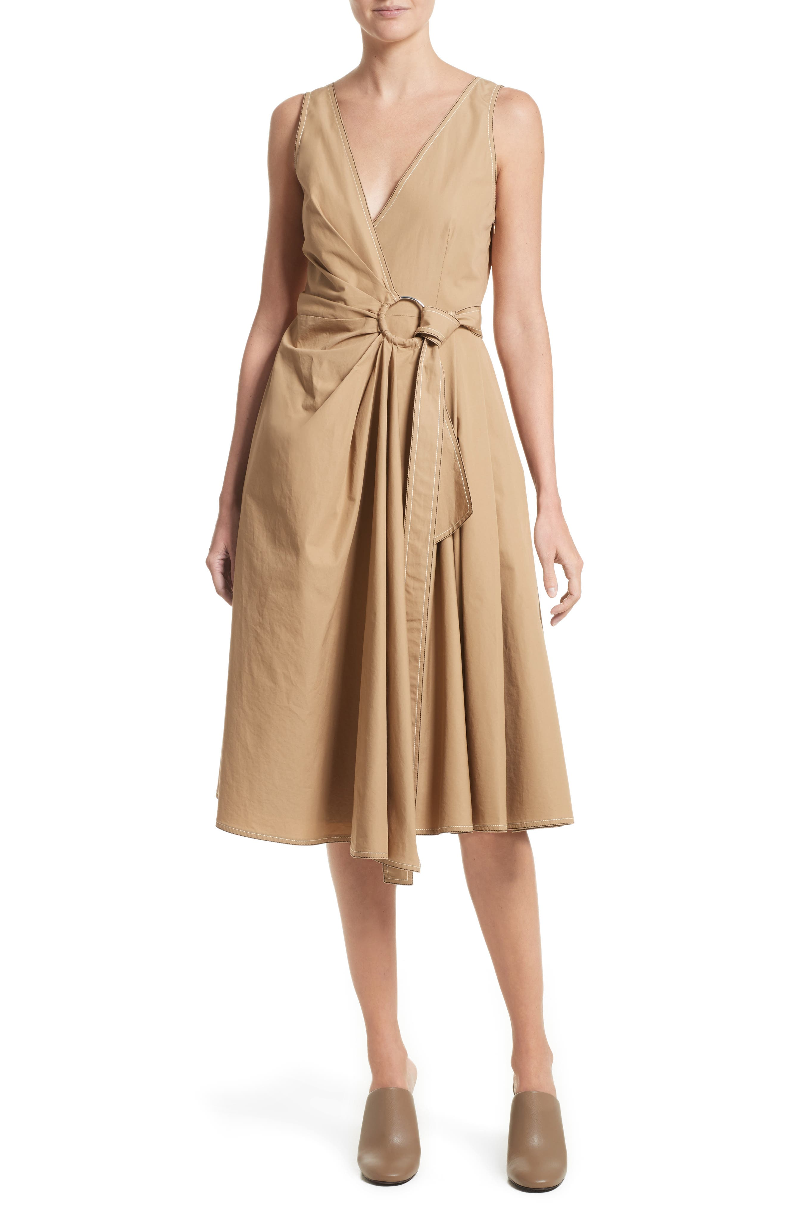 Pleated Wrap Dress,                             Main thumbnail 1, color,                             Camel