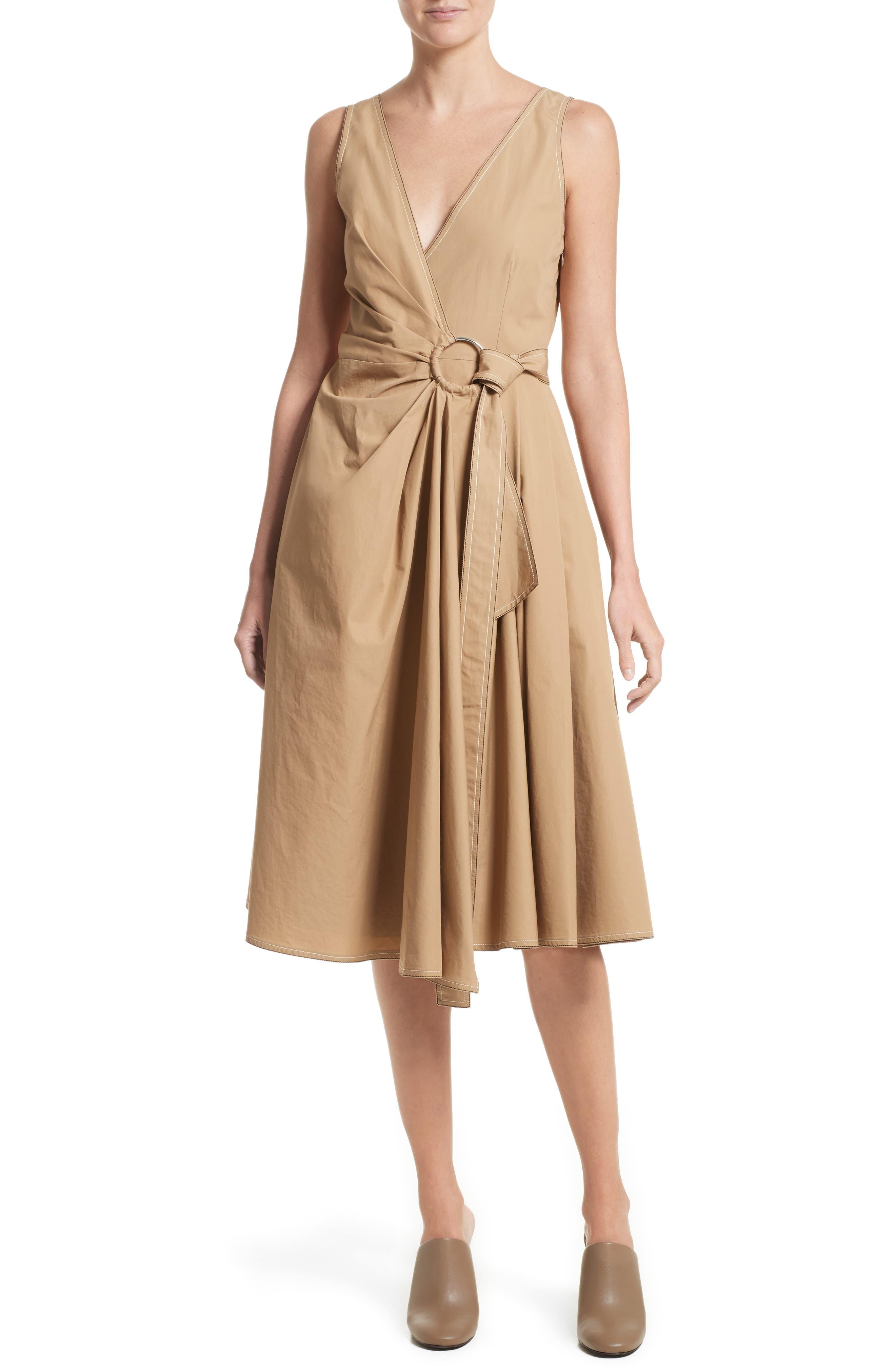 Pleated Wrap Dress,                         Main,                         color, Camel