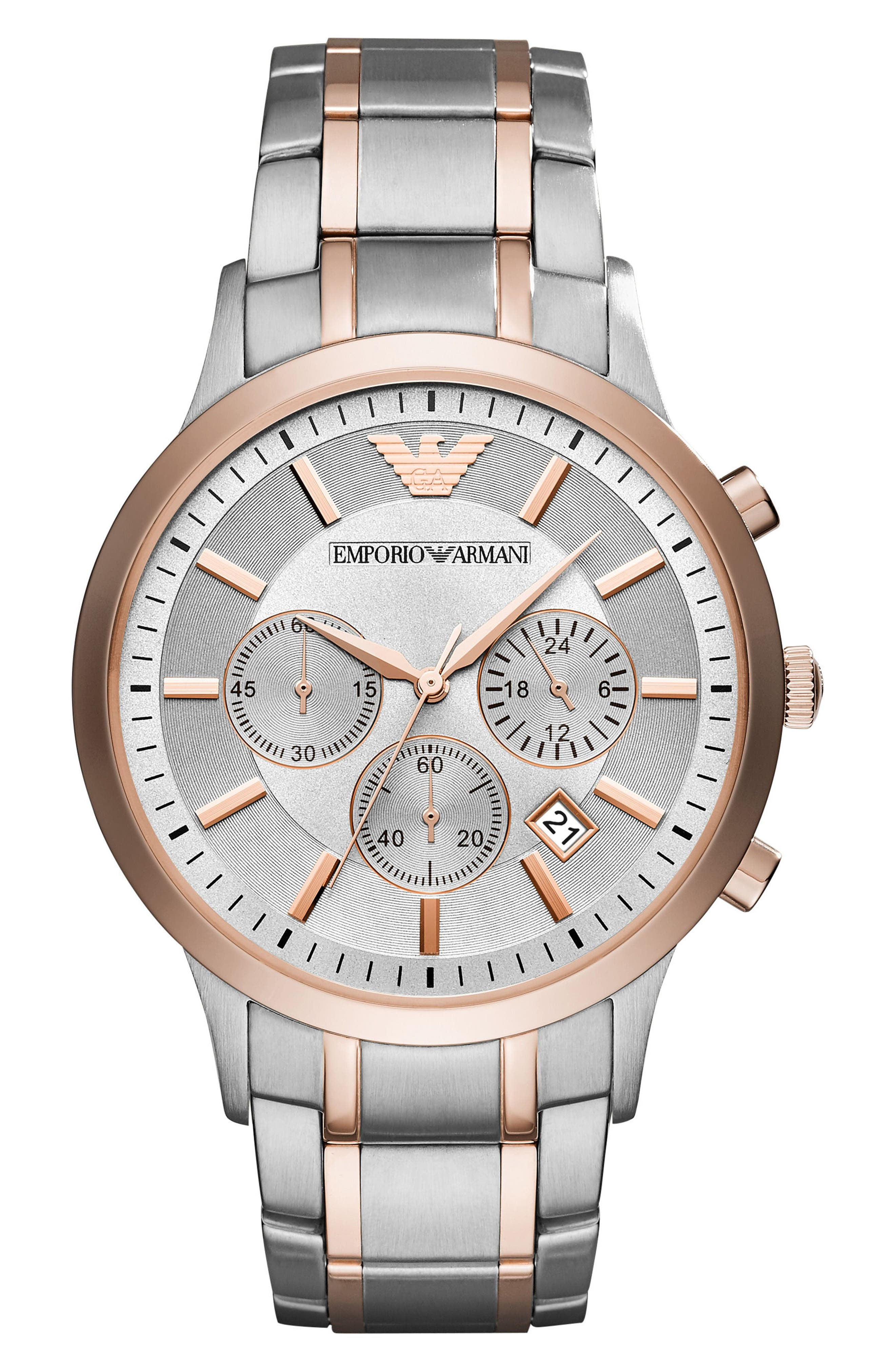Two-Tone Chronograph Bracelet Watch, 43mm,                         Main,                         color, Rose Gold/ Silver