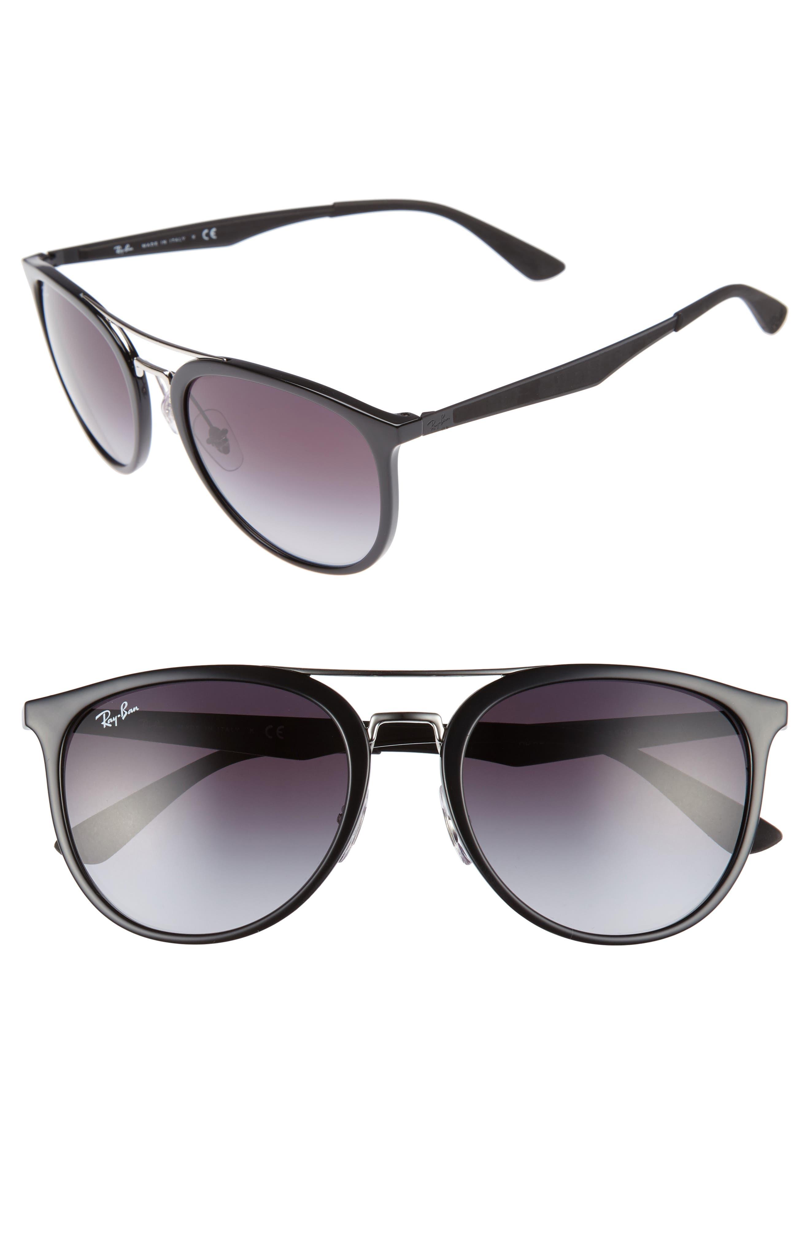 55mm Gradient Lens Sunglasses,                         Main,                         color, Black