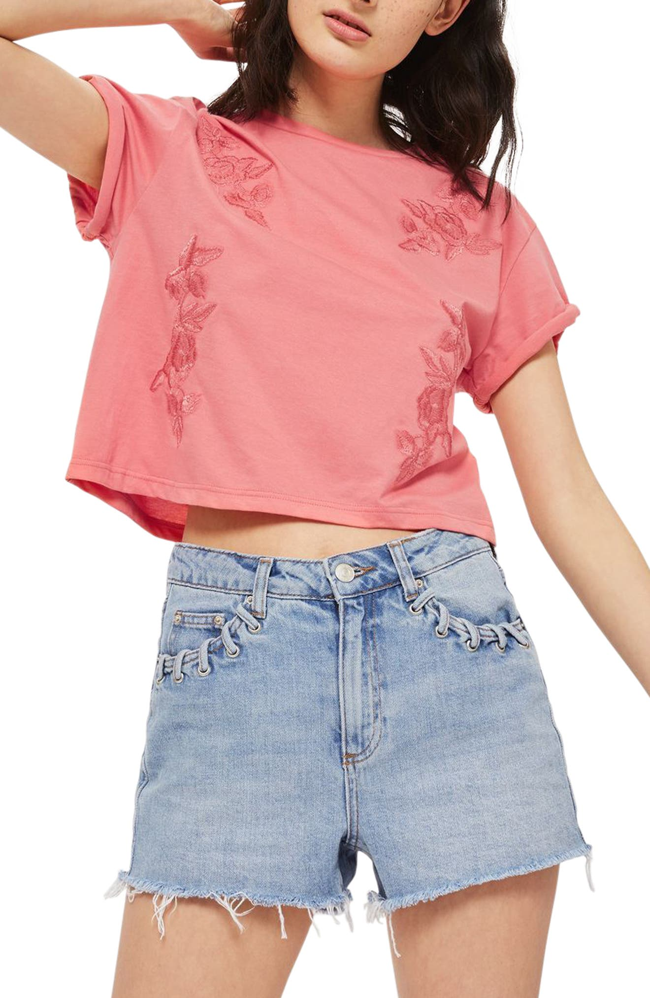 Alternate Image 1 Selected - Topshop Embroidered Crop Tee
