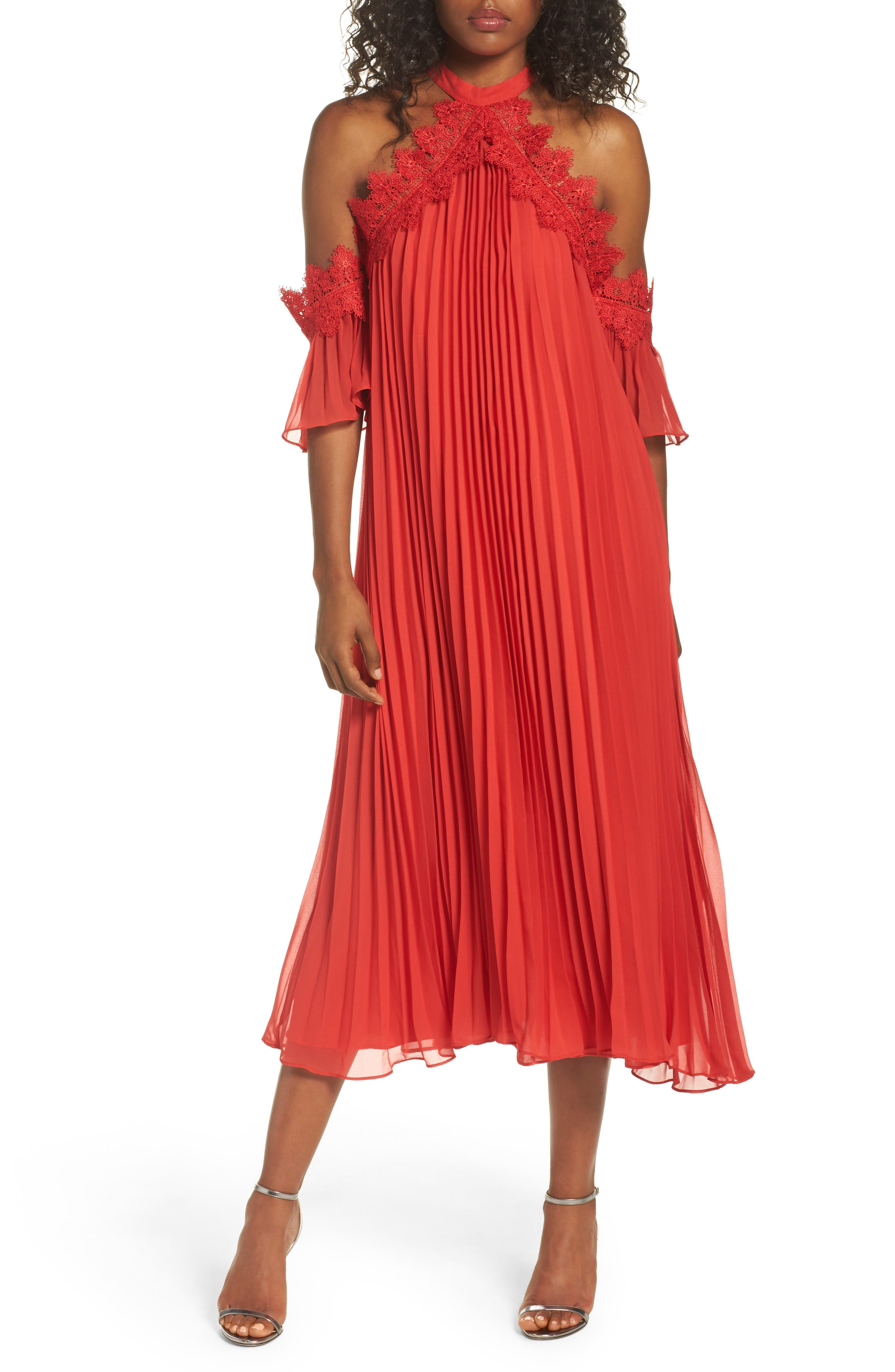 Lace Trim Pleated Midi Dress,                         Main,                         color, Red