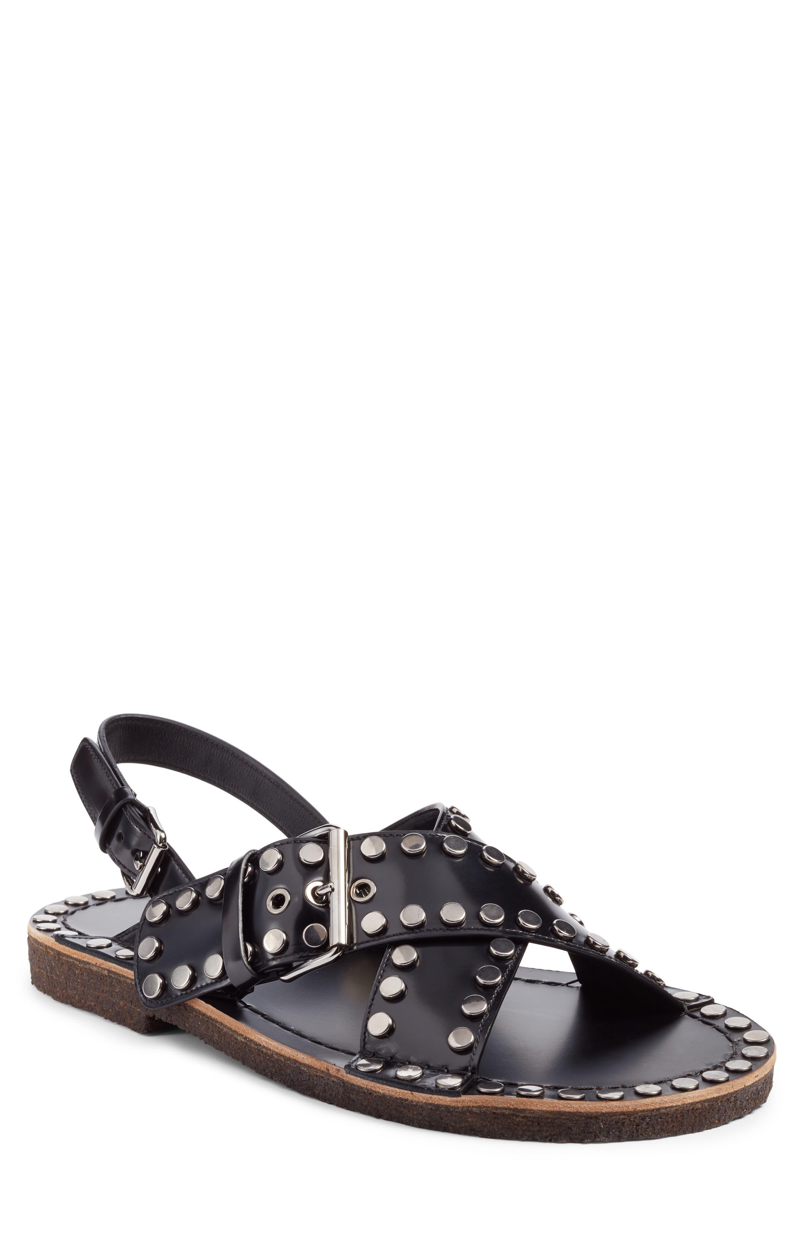 Crisscross Sandal,                         Main,                         color, Nero Leather