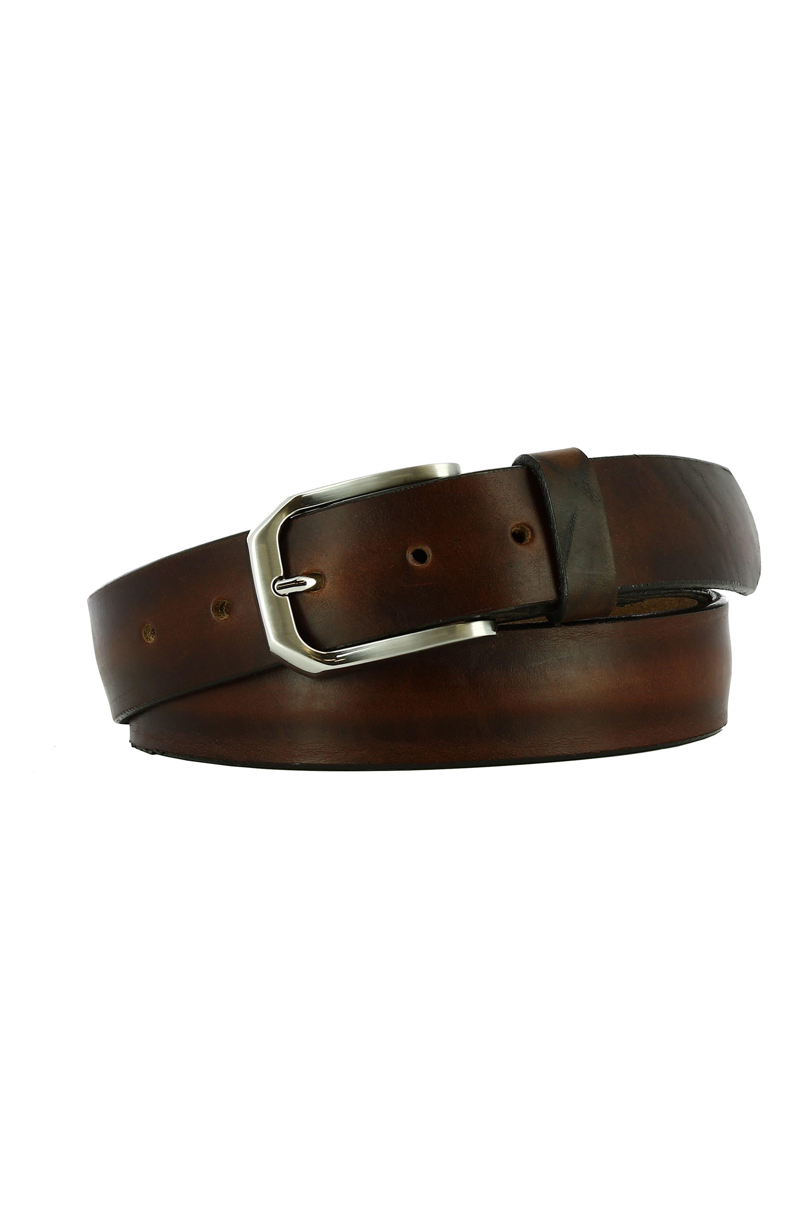 Gunner Leather Belt,                             Main thumbnail 1, color,                             Bourbon