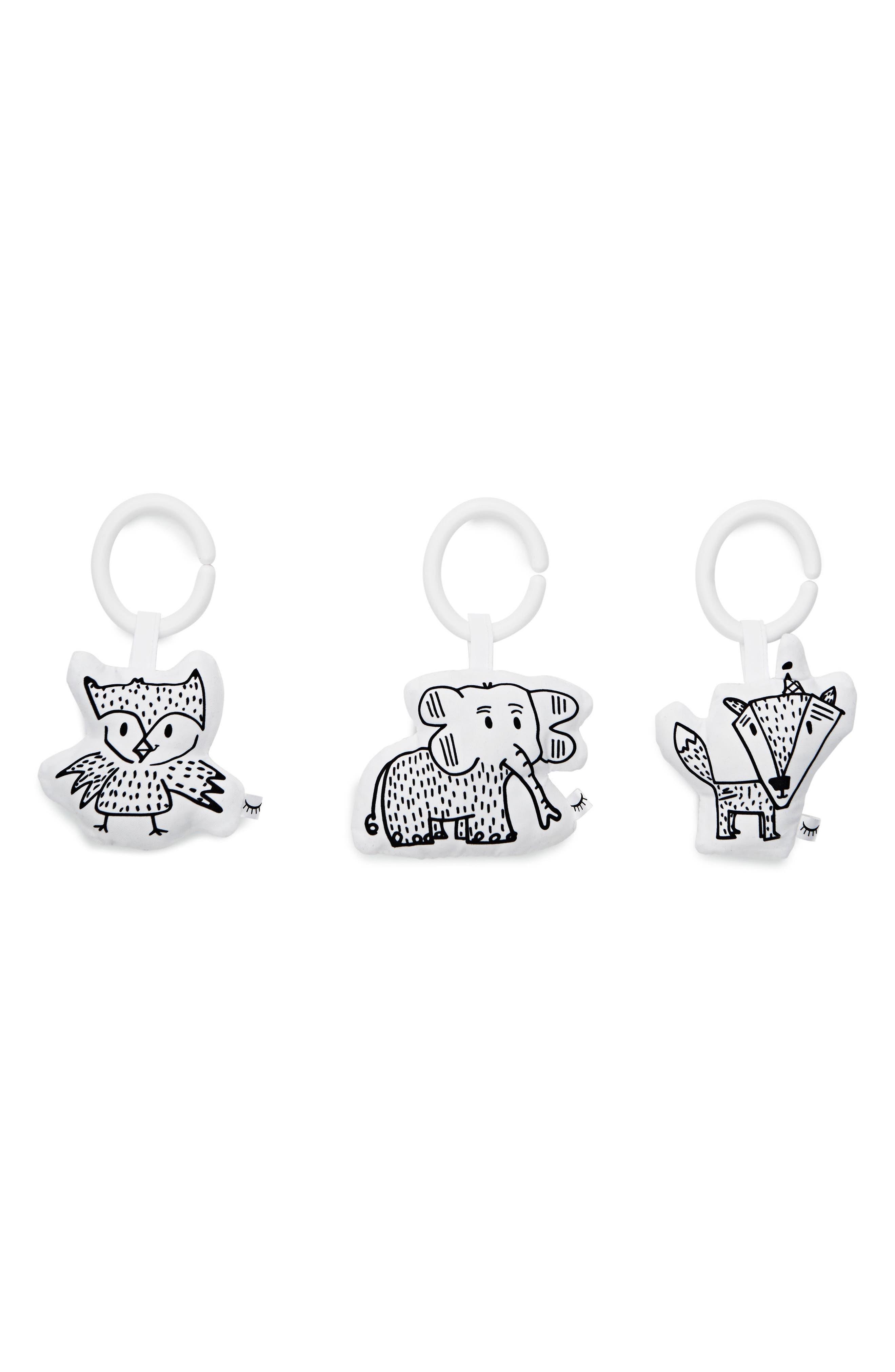 3-Piece Hanging Toy Set,                         Main,                         color, Black/ White