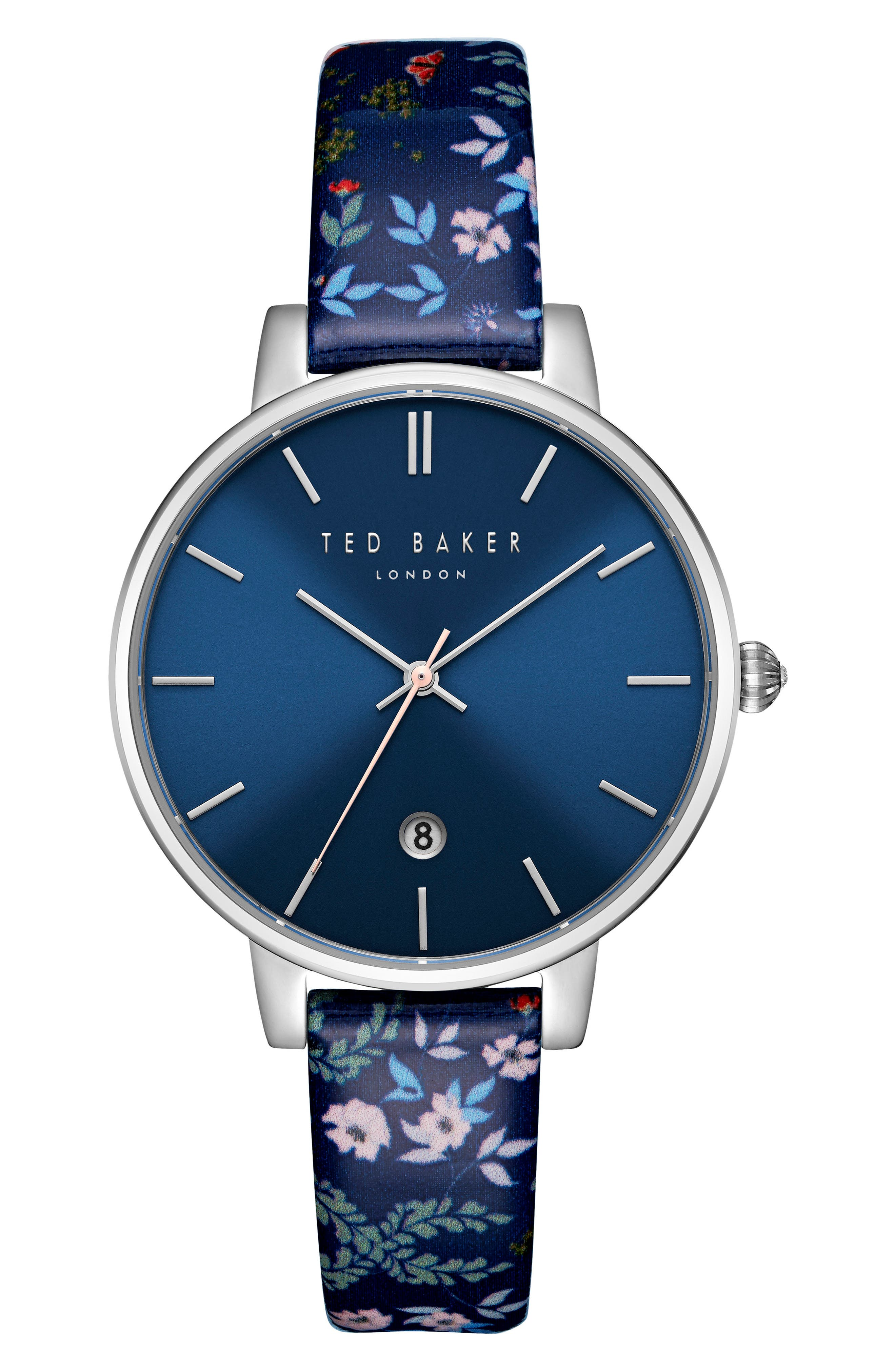 TED BAKER LONDON Kate Floral Leather Strap Watch, 38mm
