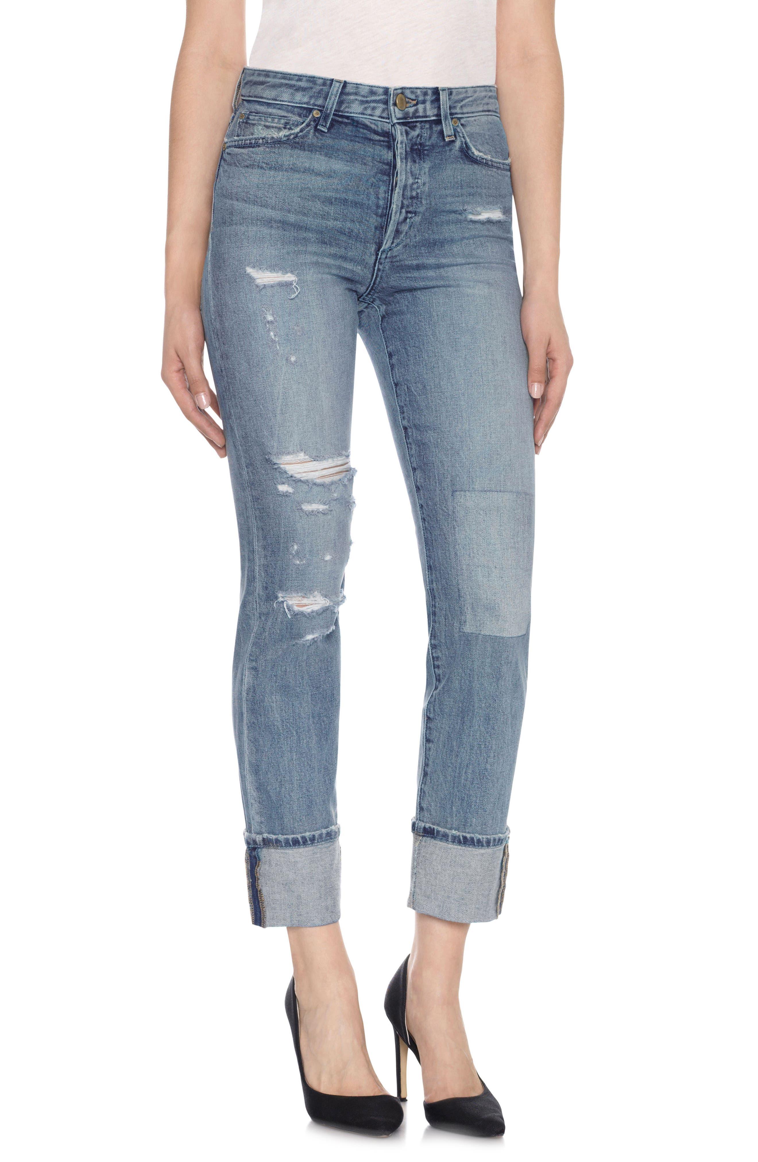 Taylor Hill x Joe's Debbie Cuff Straight Leg Jeans,                         Main,                         color, Jaylee