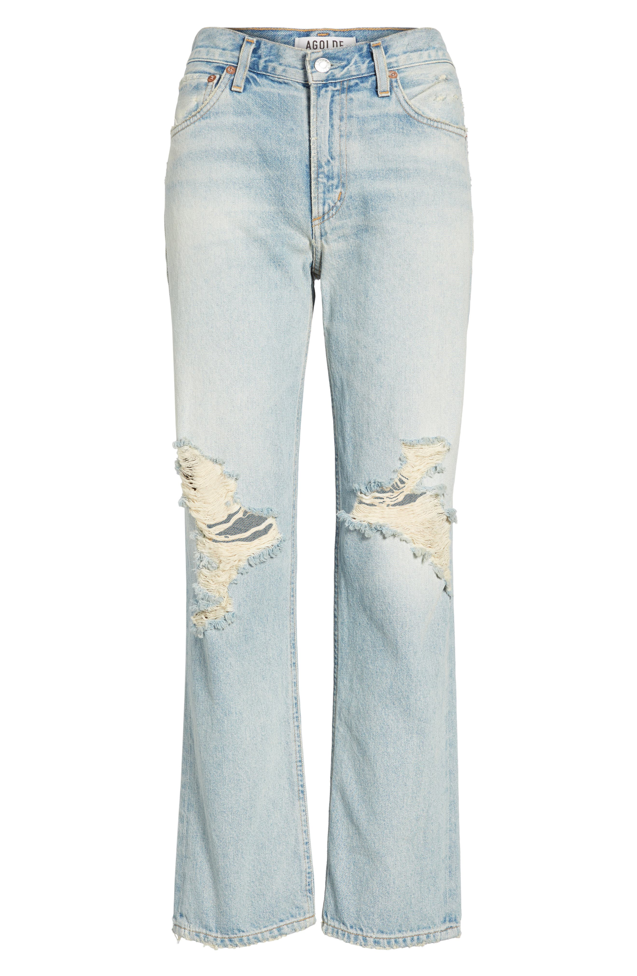 Alternate Image 6  - AGOLDE Ripped High Waist Straight Leg Jeans (Runaway)