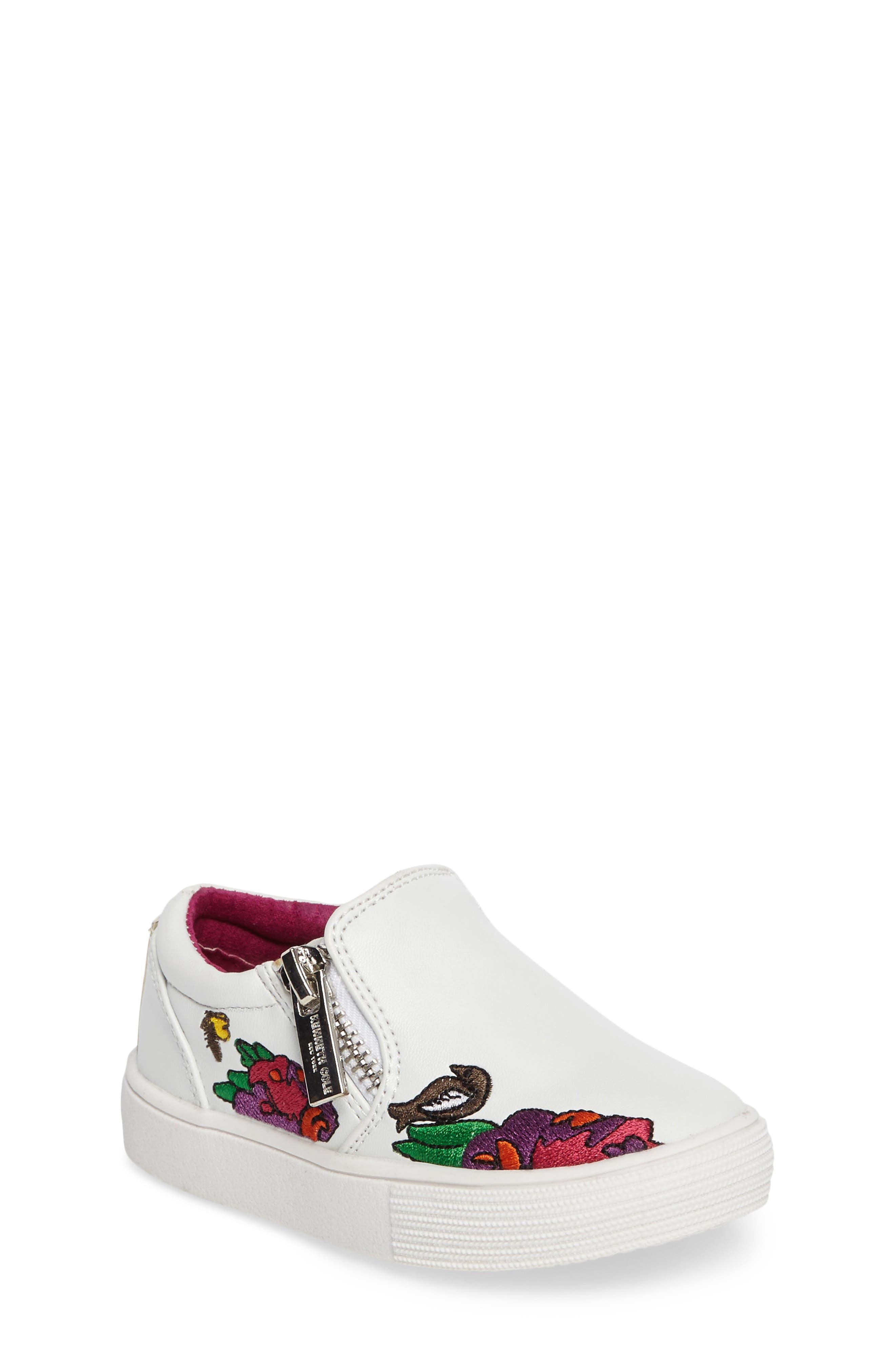 Alternate Image 1 Selected - Kenneth Cole New York Kam Dory Embroidered Zip Sneaker (Walker & Toddler)