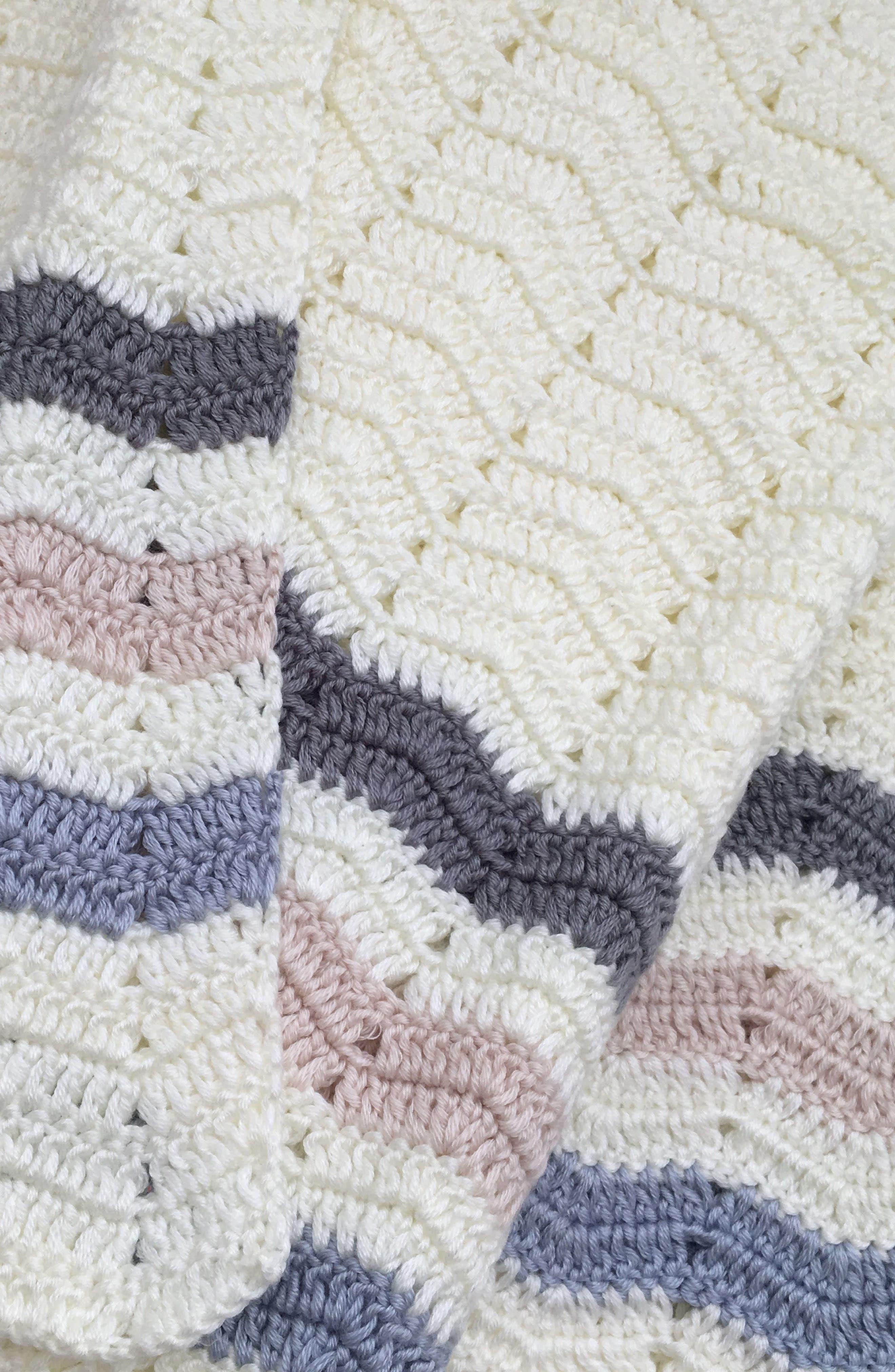 Ripple Crocheted Blanket,                             Alternate thumbnail 8, color,                             Blue
