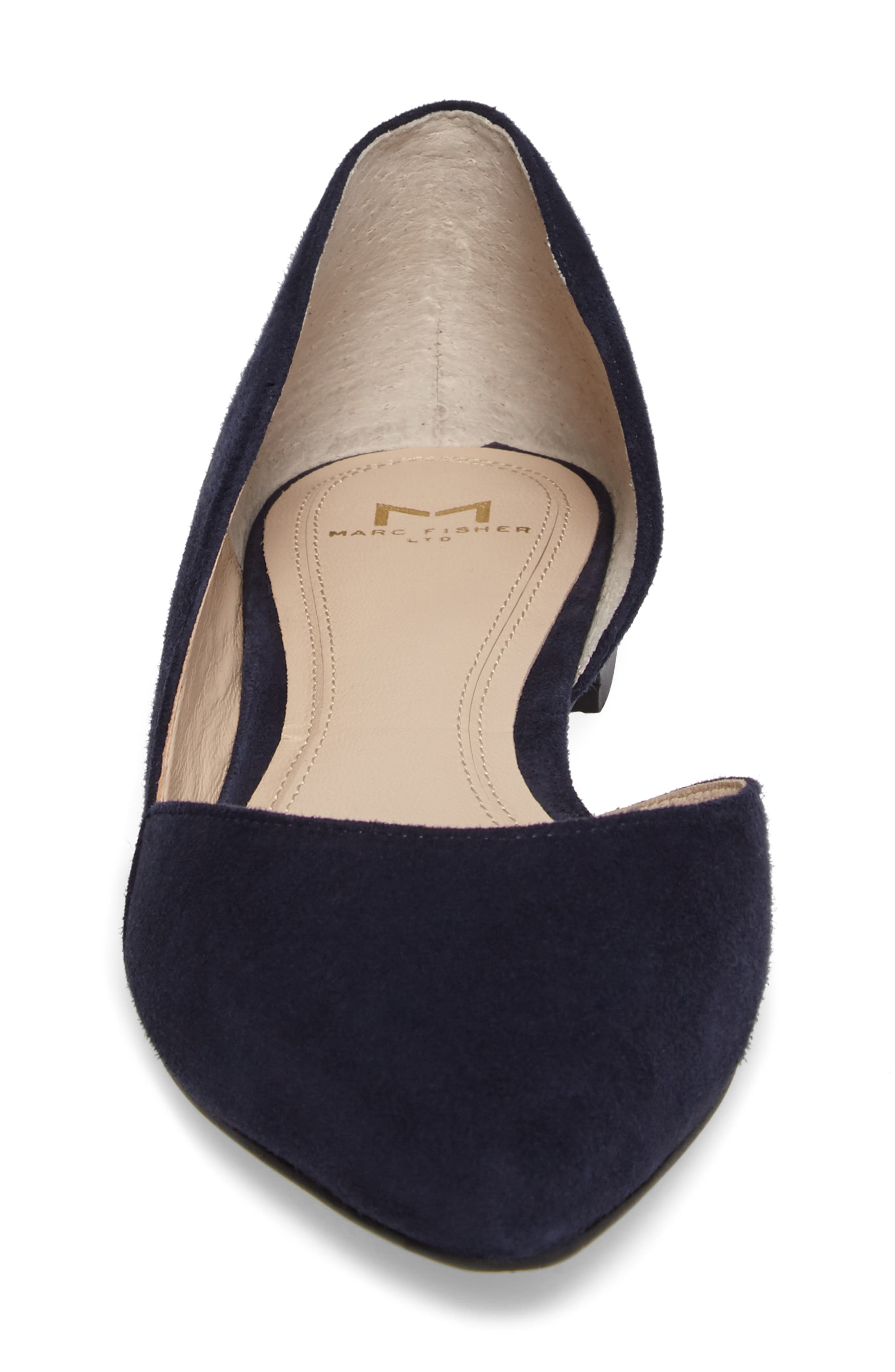 'Sunny' Half d'Orsay Flat,                             Alternate thumbnail 4, color,                             Bold Blue Suede