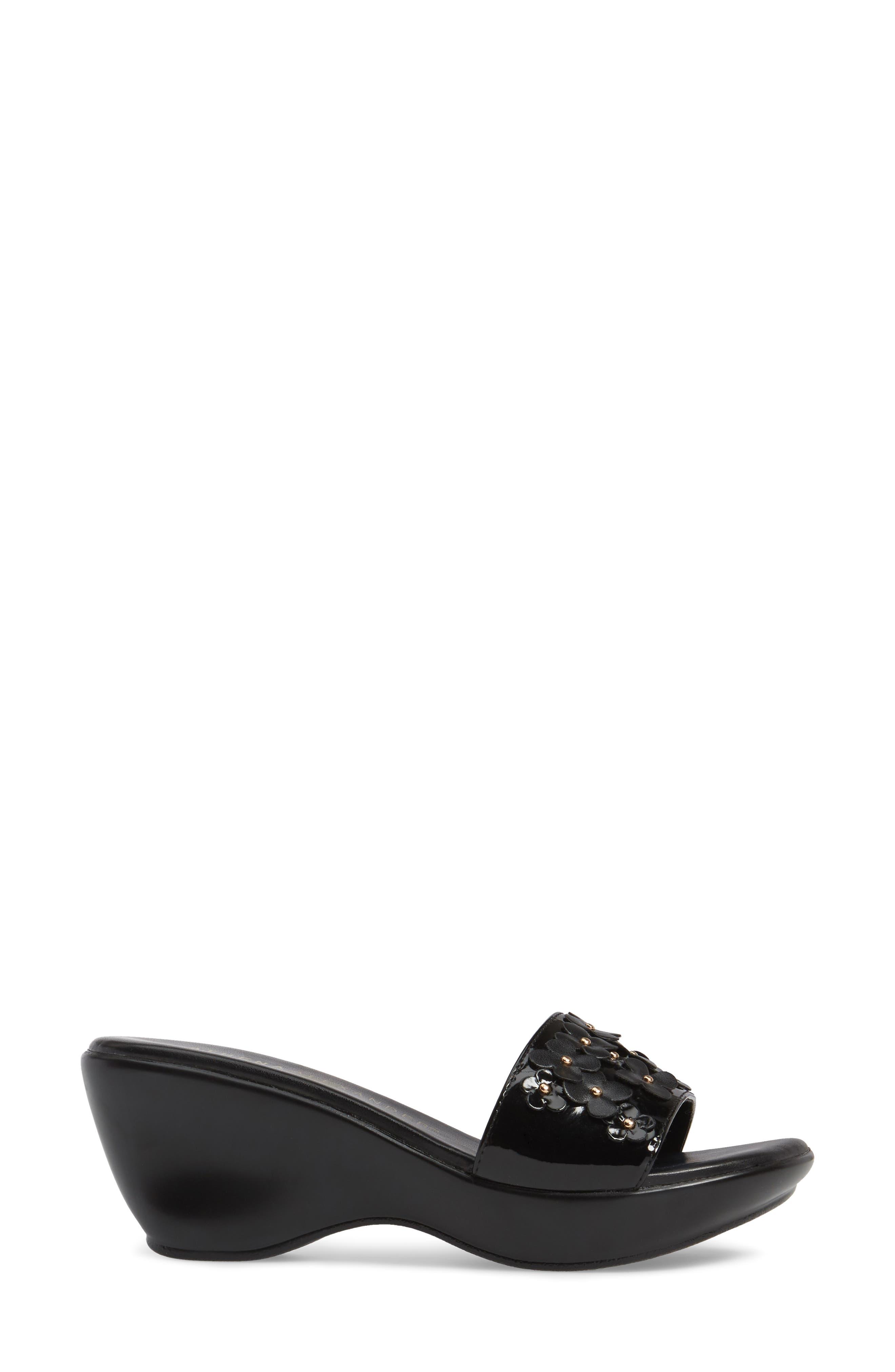 Allegra Wedge Slide,                             Alternate thumbnail 3, color,                             Black Faux Leather