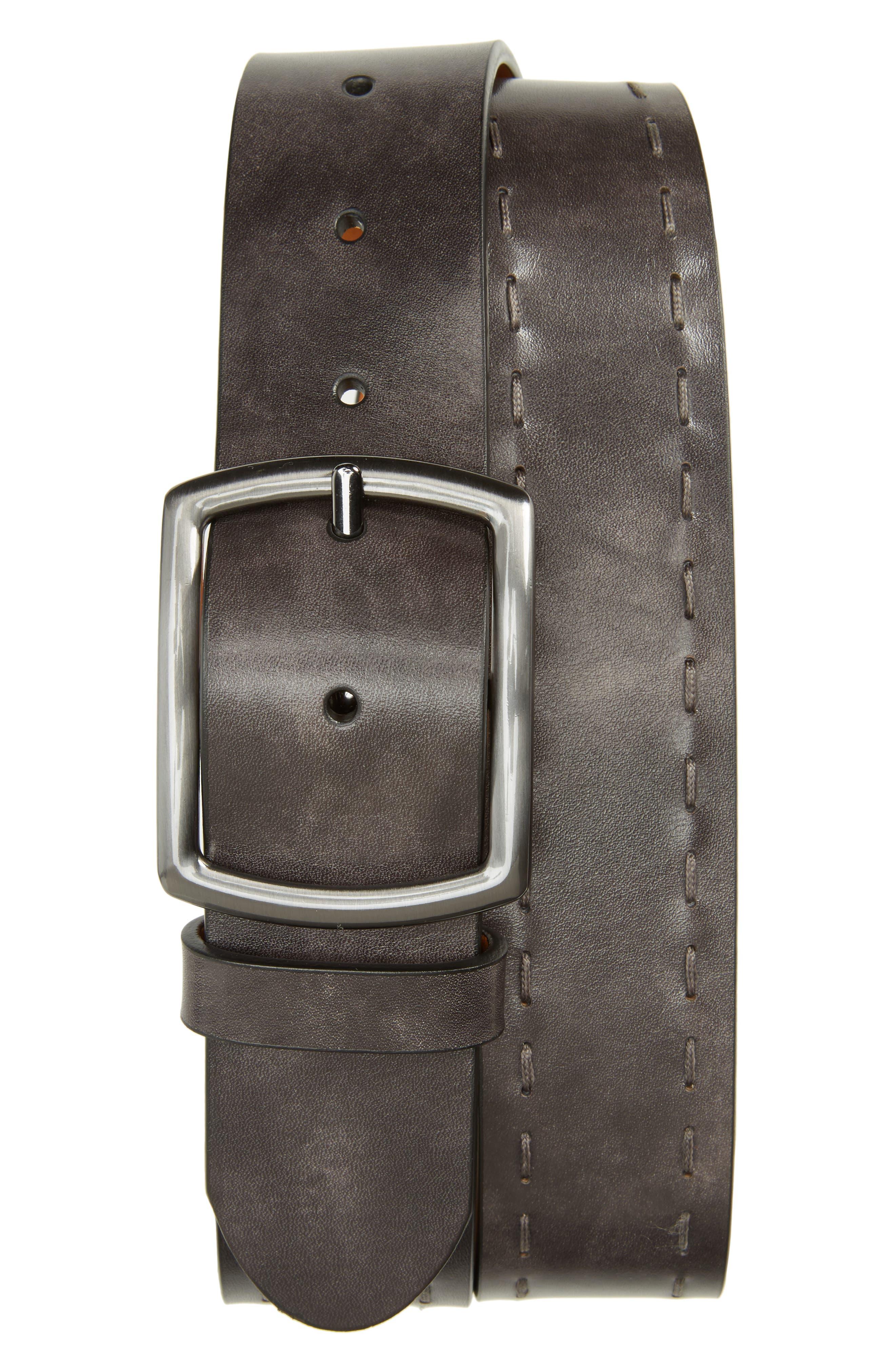 Guodi Leather Belt,                         Main,                         color, Grey
