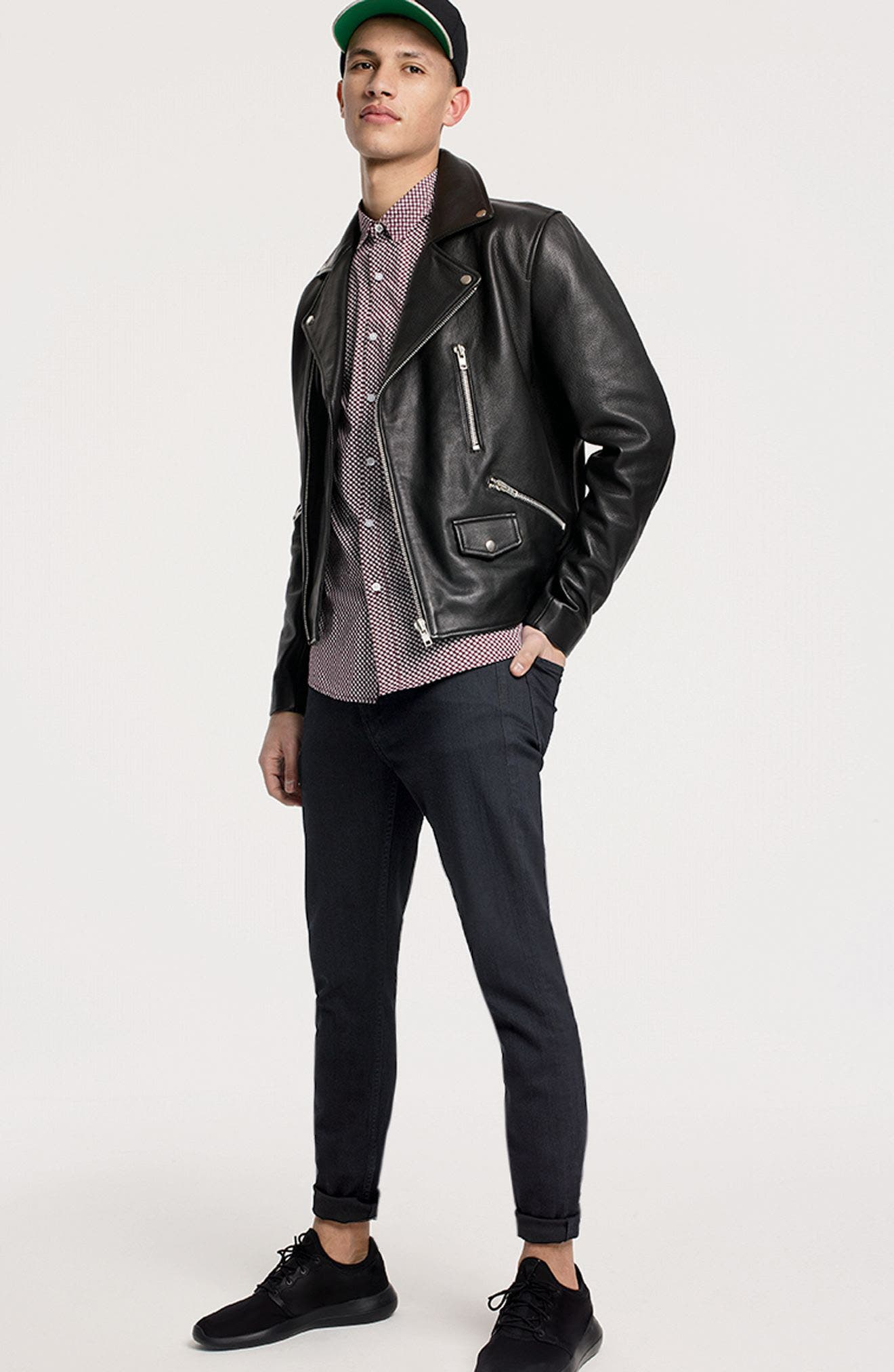 Staines Leather Moto Jacket,                             Alternate thumbnail 7, color,