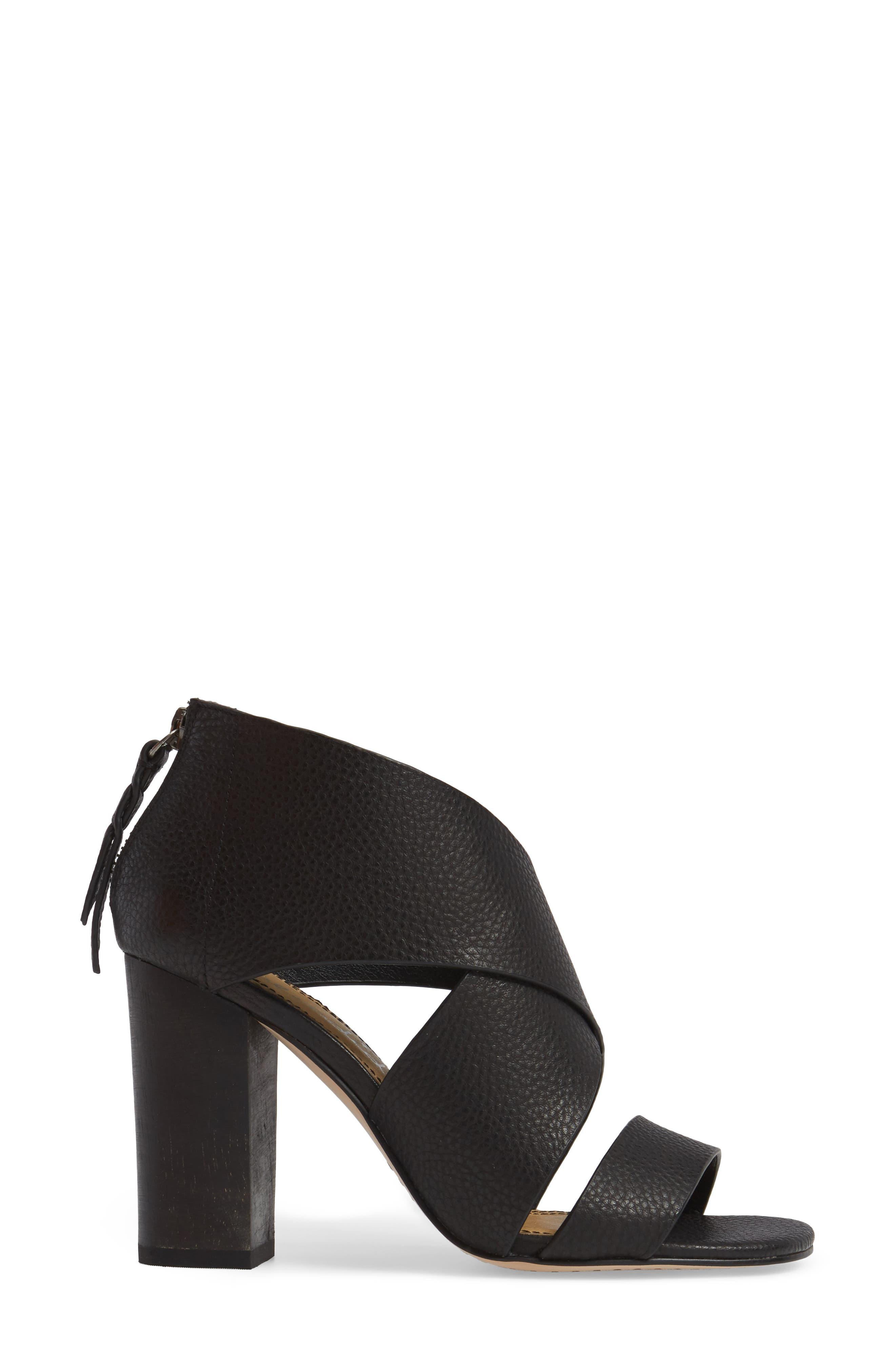 Danett Cross Strap Sandal,                             Alternate thumbnail 3, color,                             Black Leather