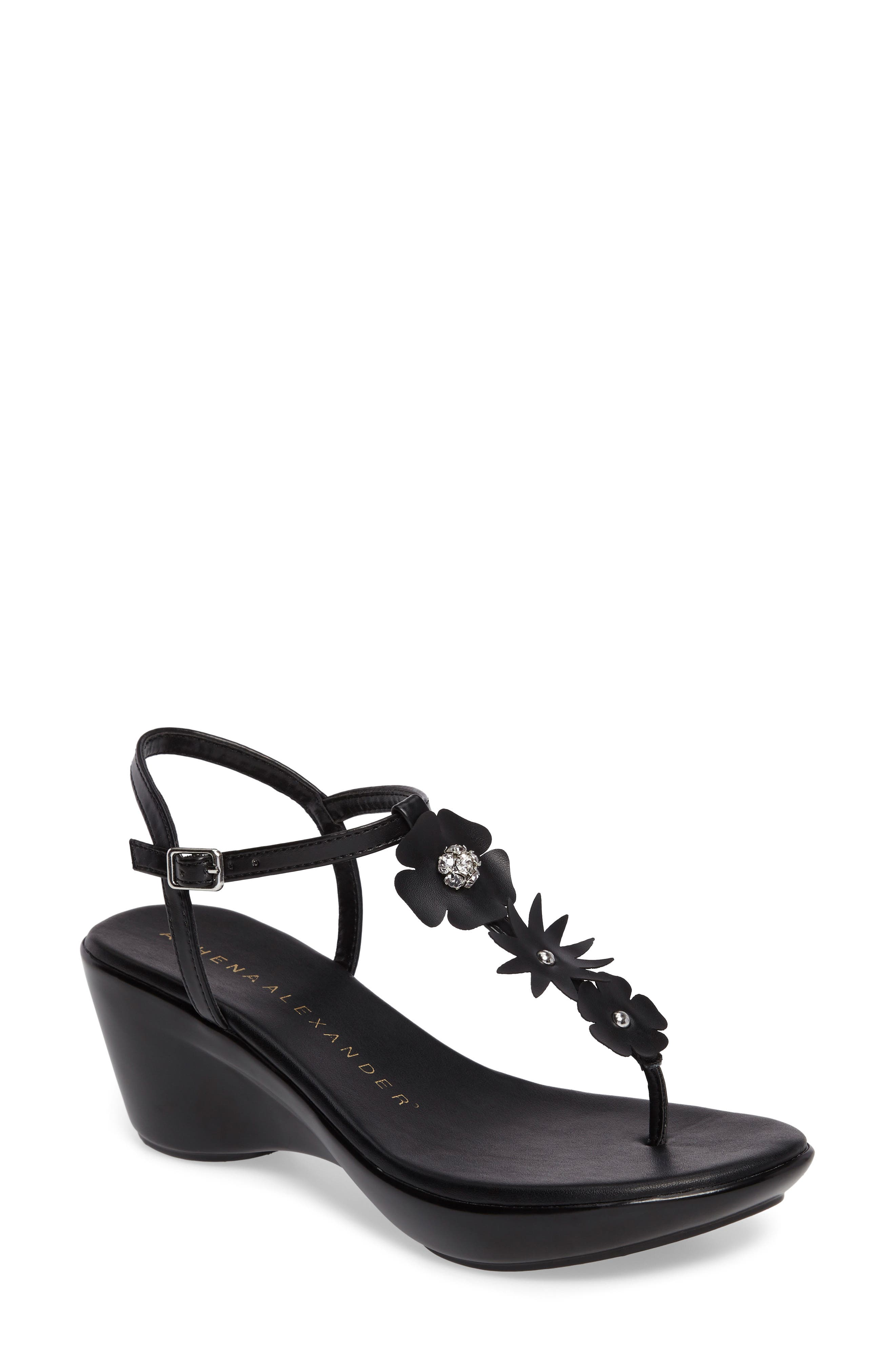 Gianna Embellished T-Strap Wedge,                         Main,                         color, Black Faux Leather