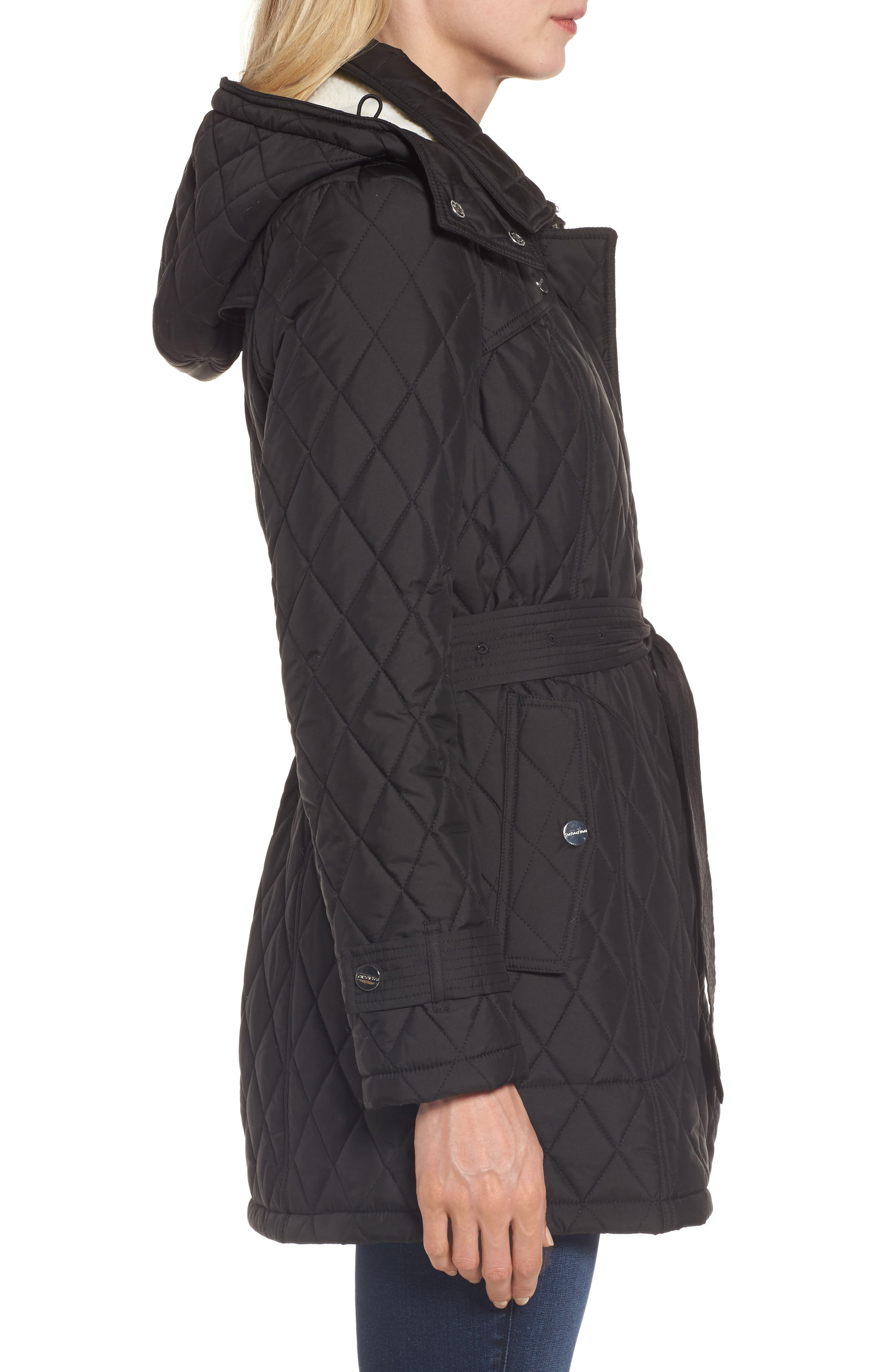 Quilted Coat with Faux Shearling Lining,                             Alternate thumbnail 3, color,                             Black