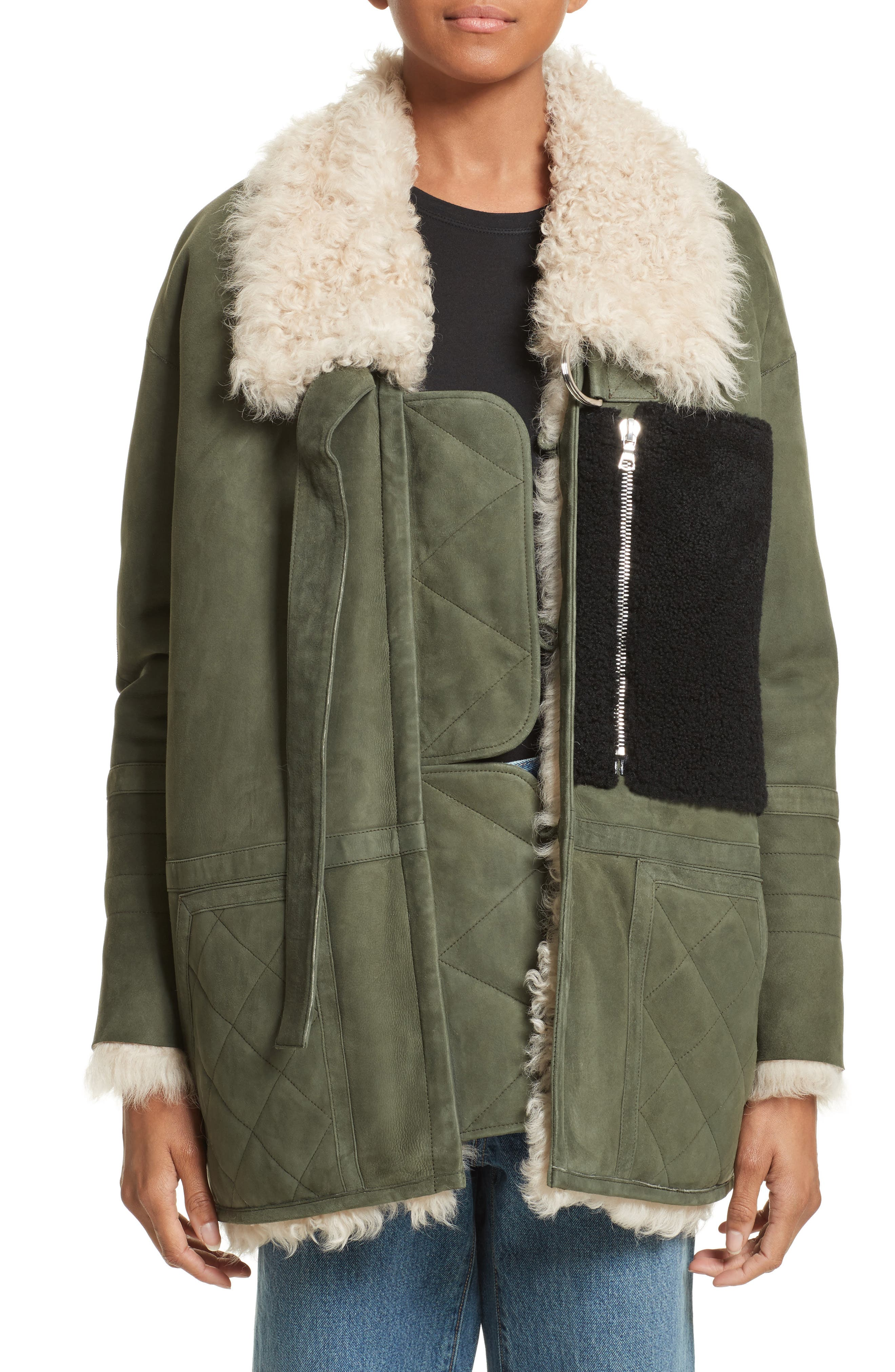 Ines Suede & Genuine Shearling Coat,                             Main thumbnail 1, color,                             Olive