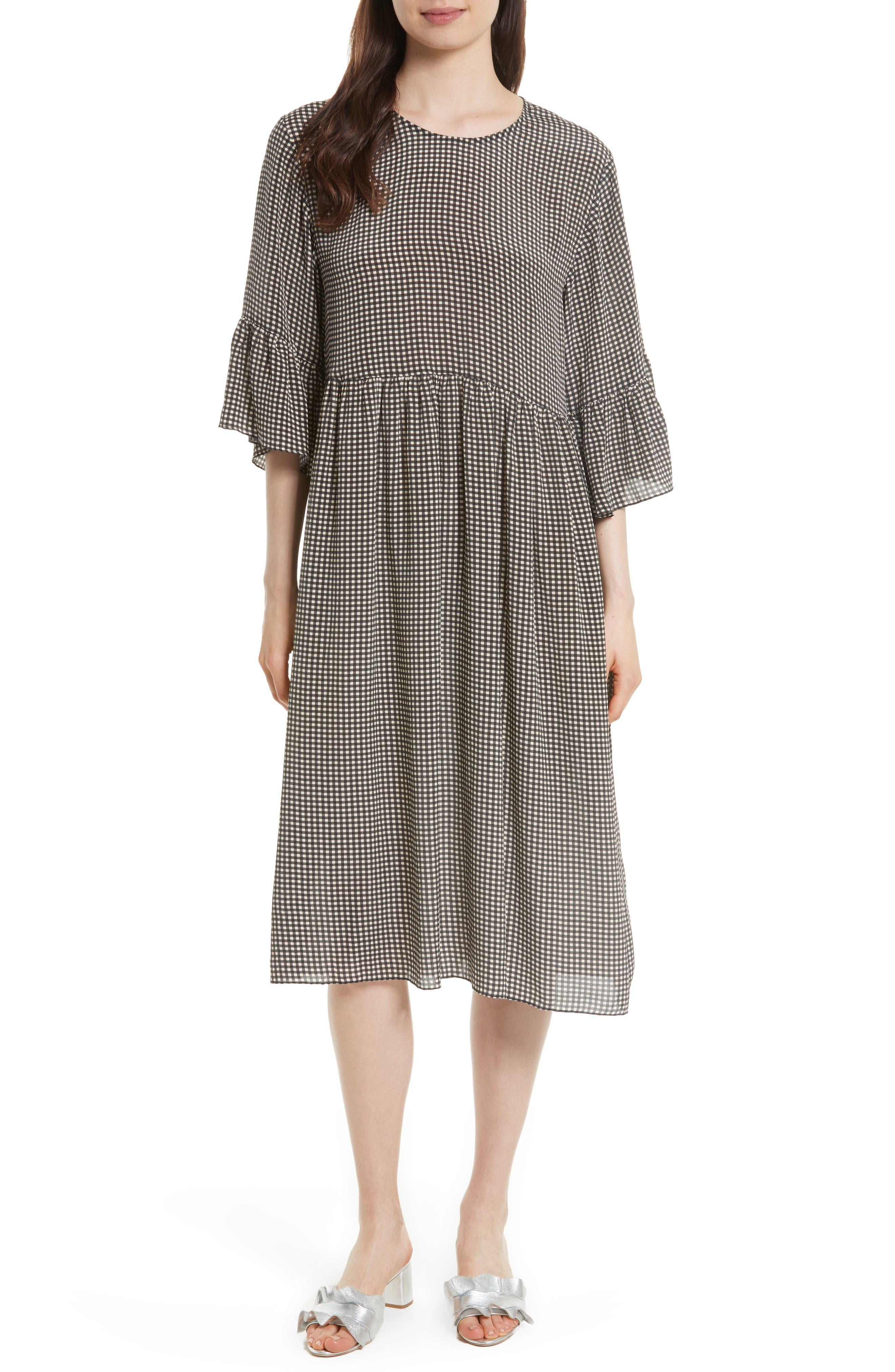 The Sweetie Silk Midi Dress,                         Main,                         color, Academy Check