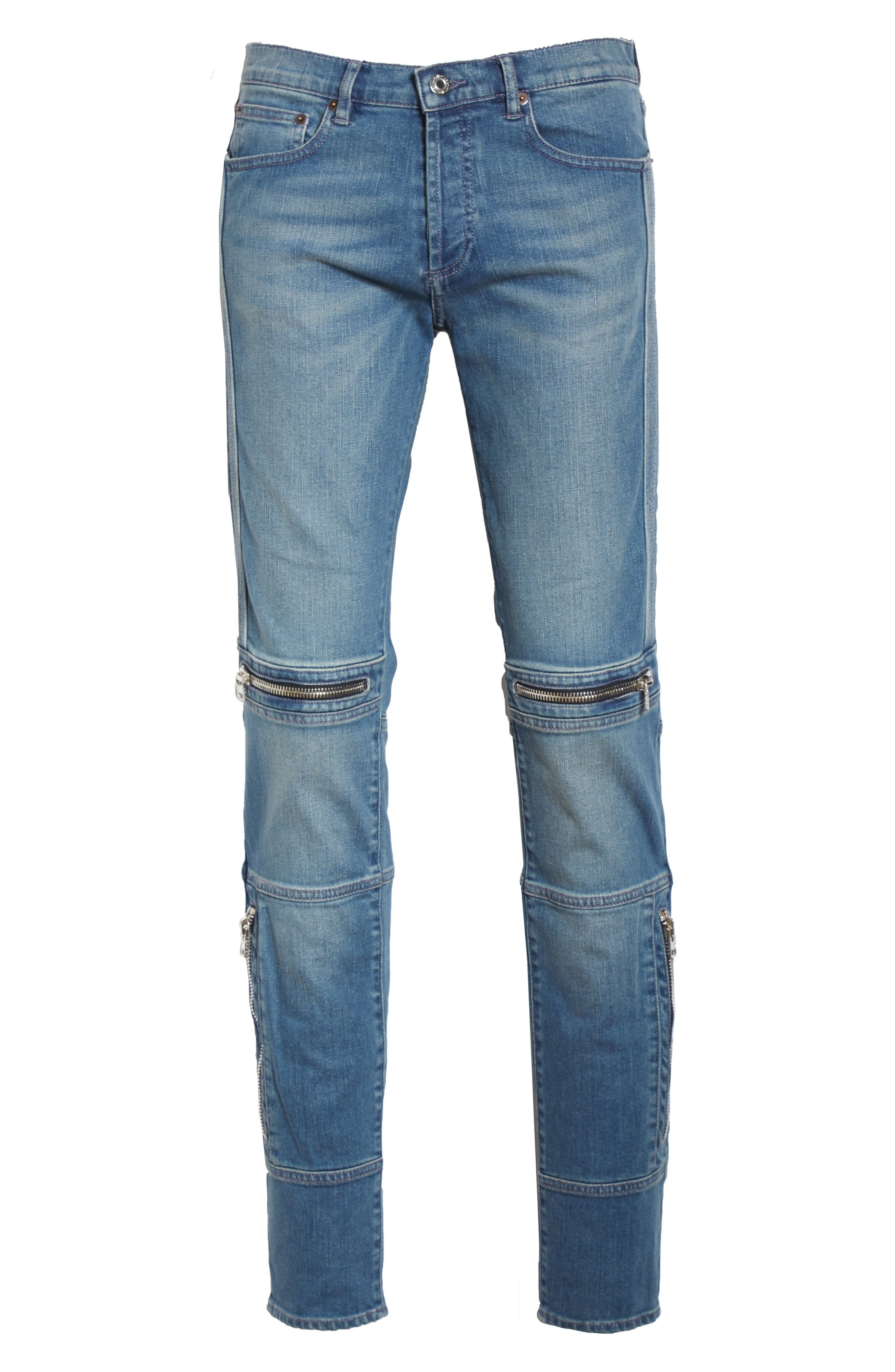 Zip Detail Biker Jeans,                             Alternate thumbnail 6, color,                             Light Blue