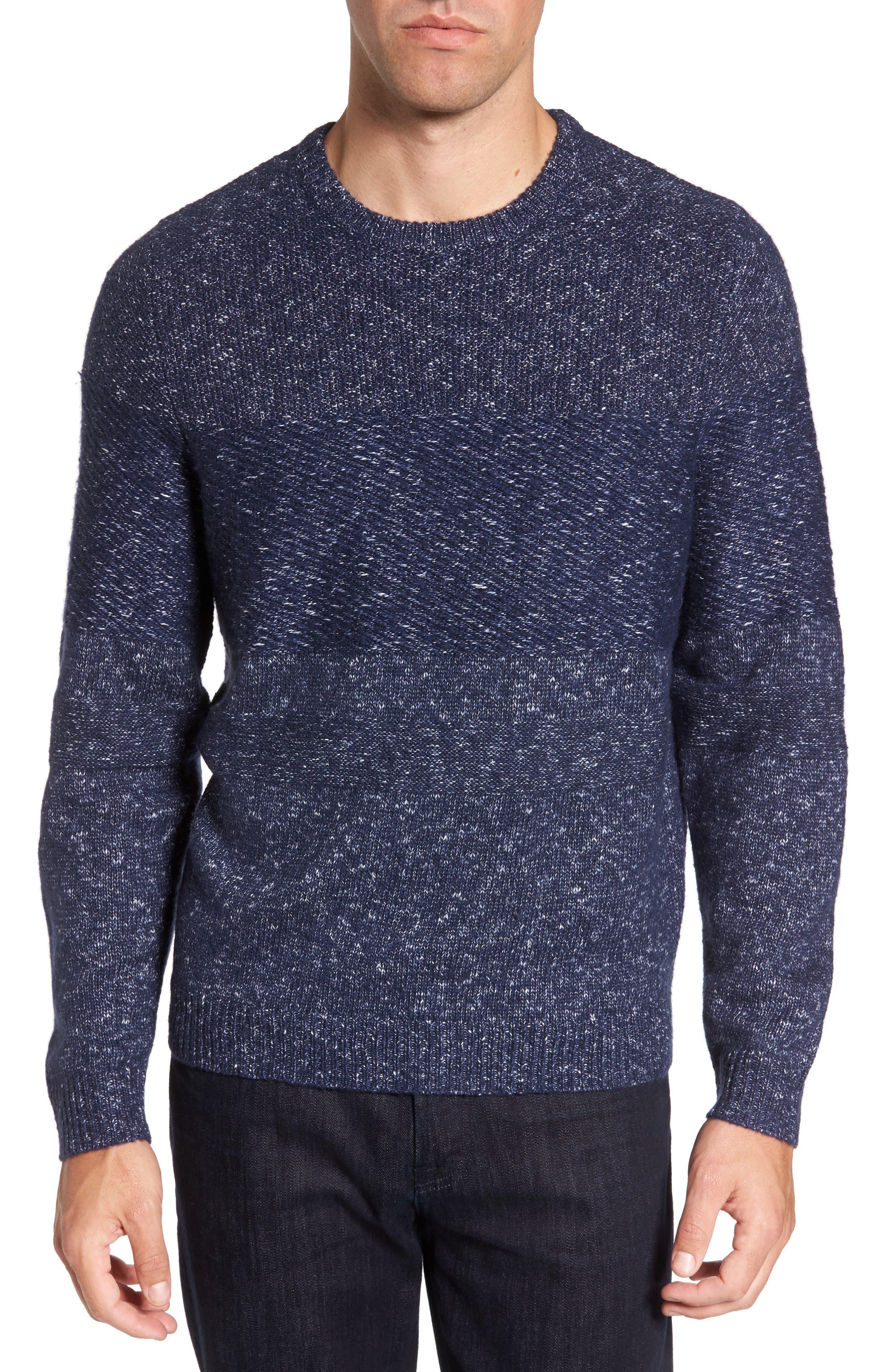 Marled Fisherman Sweater,                         Main,                         color, Navy Iris Melange