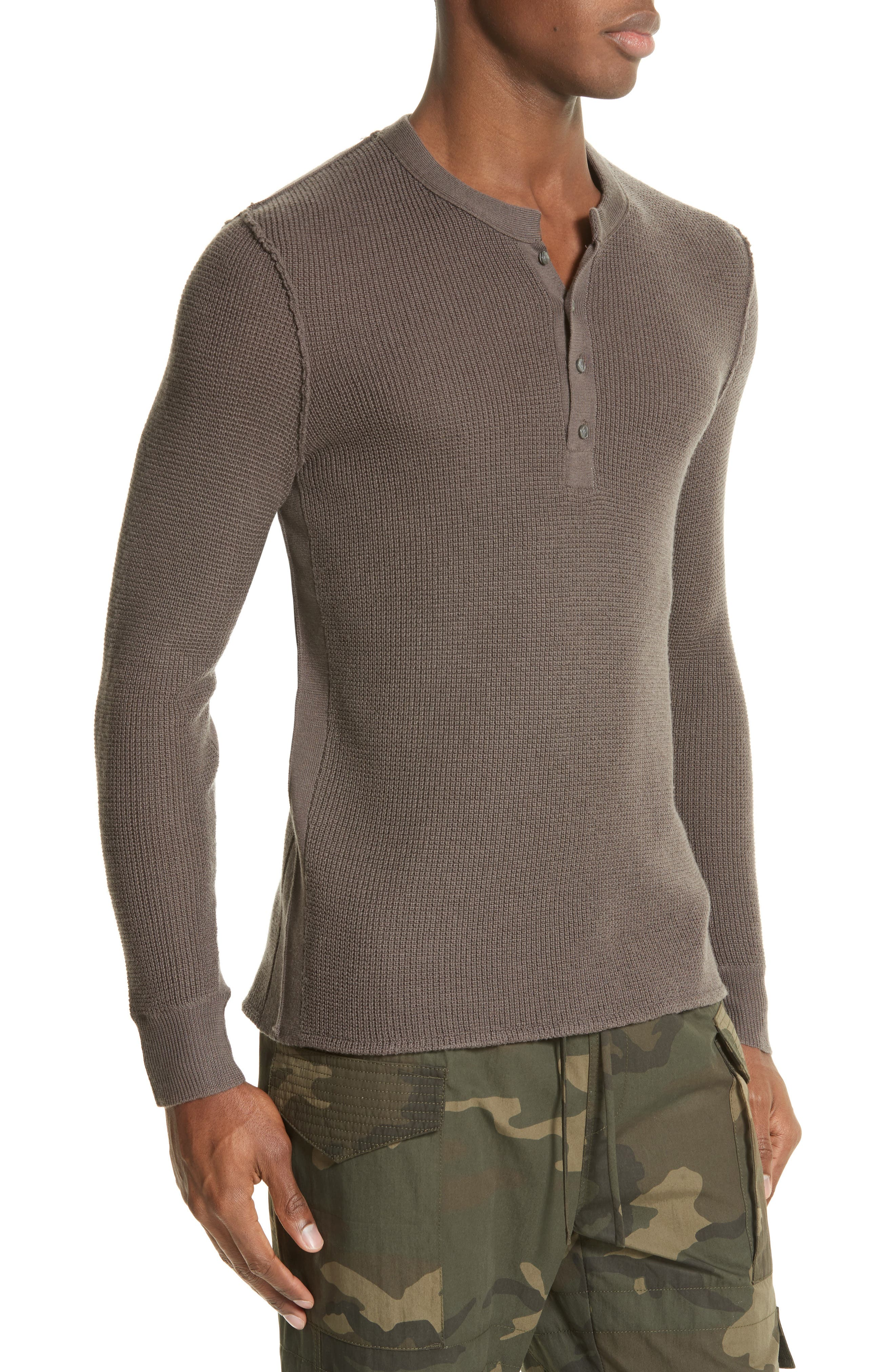 Zack Waffle Knit Wool Henley,                             Alternate thumbnail 3, color,                             Mushroom