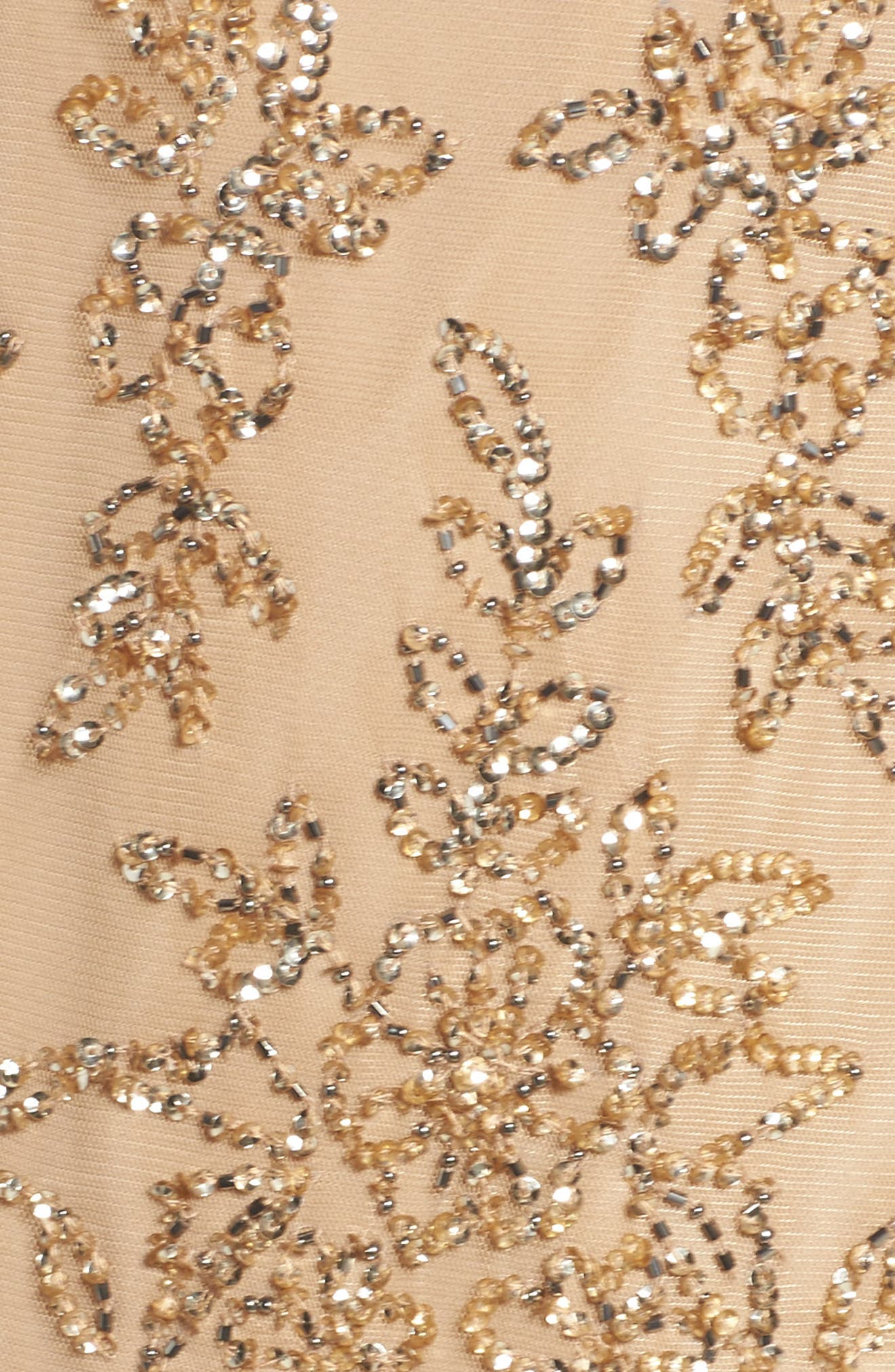 Embellished Dress,                             Alternate thumbnail 5, color,                             Champagne