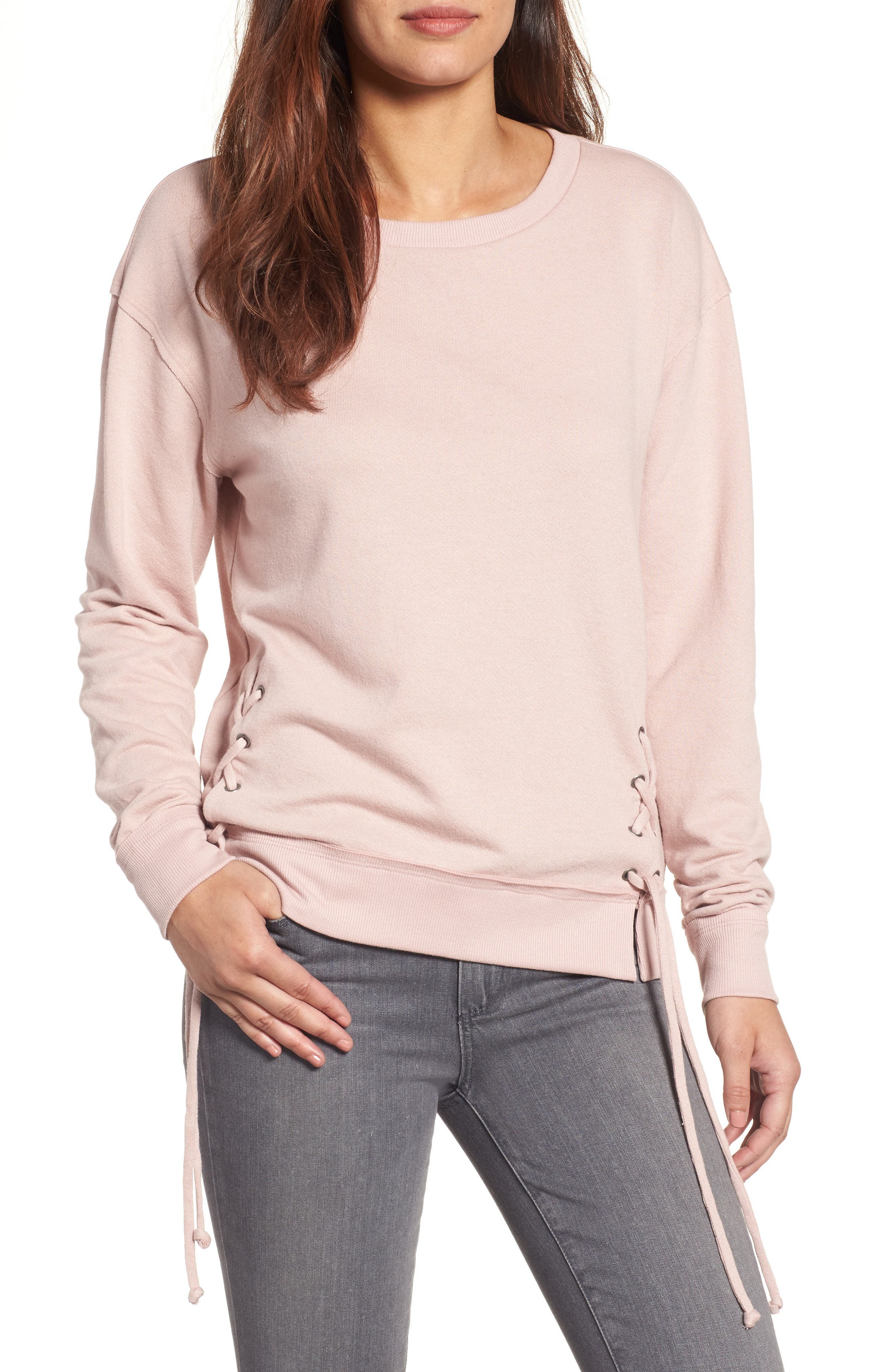 Caslon® Side Tie Sweatshirt (Regular & Petite)