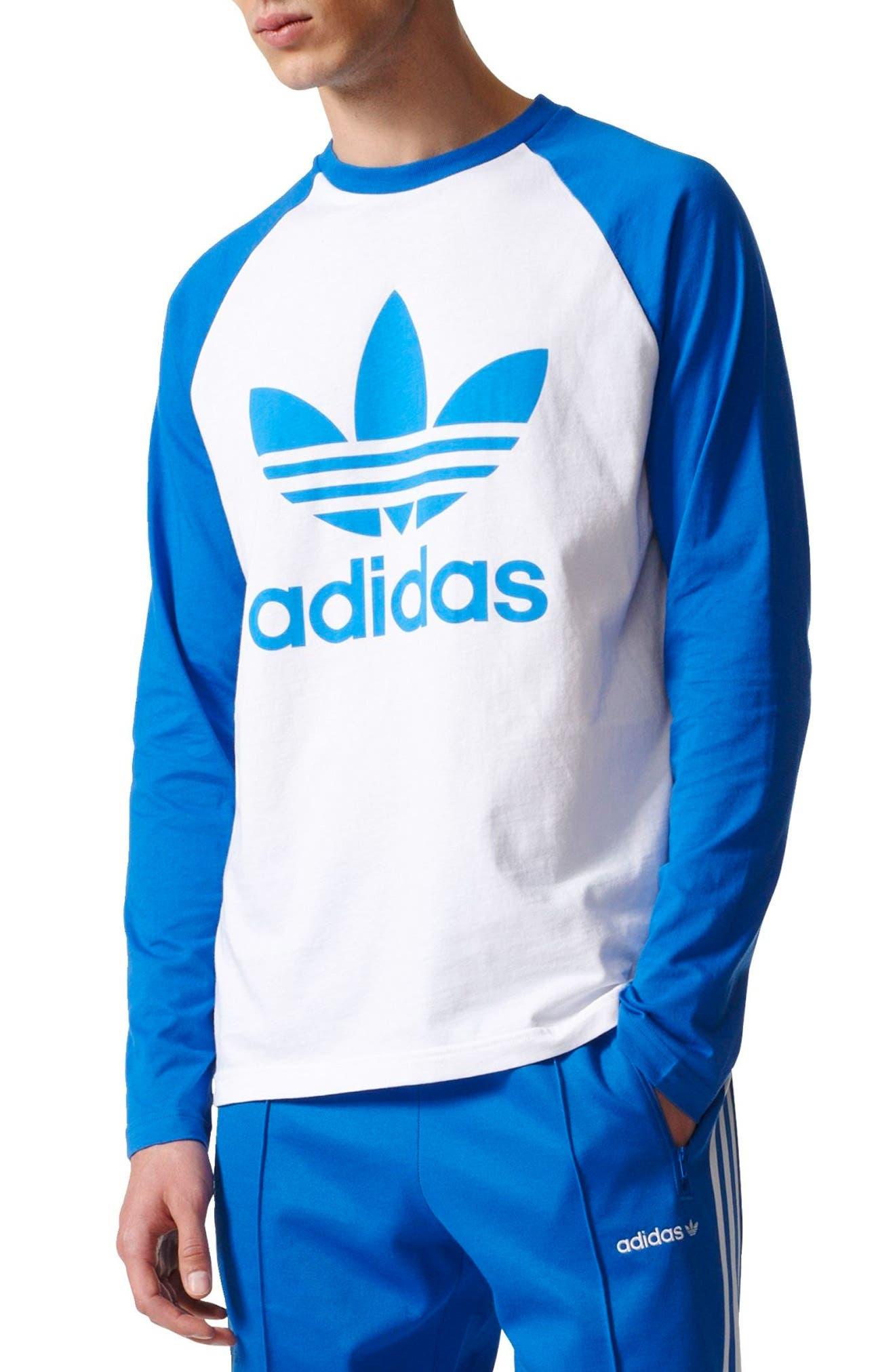 adidas Logo Graphic T-Shirt,                         Main,                         color, White/ Blue