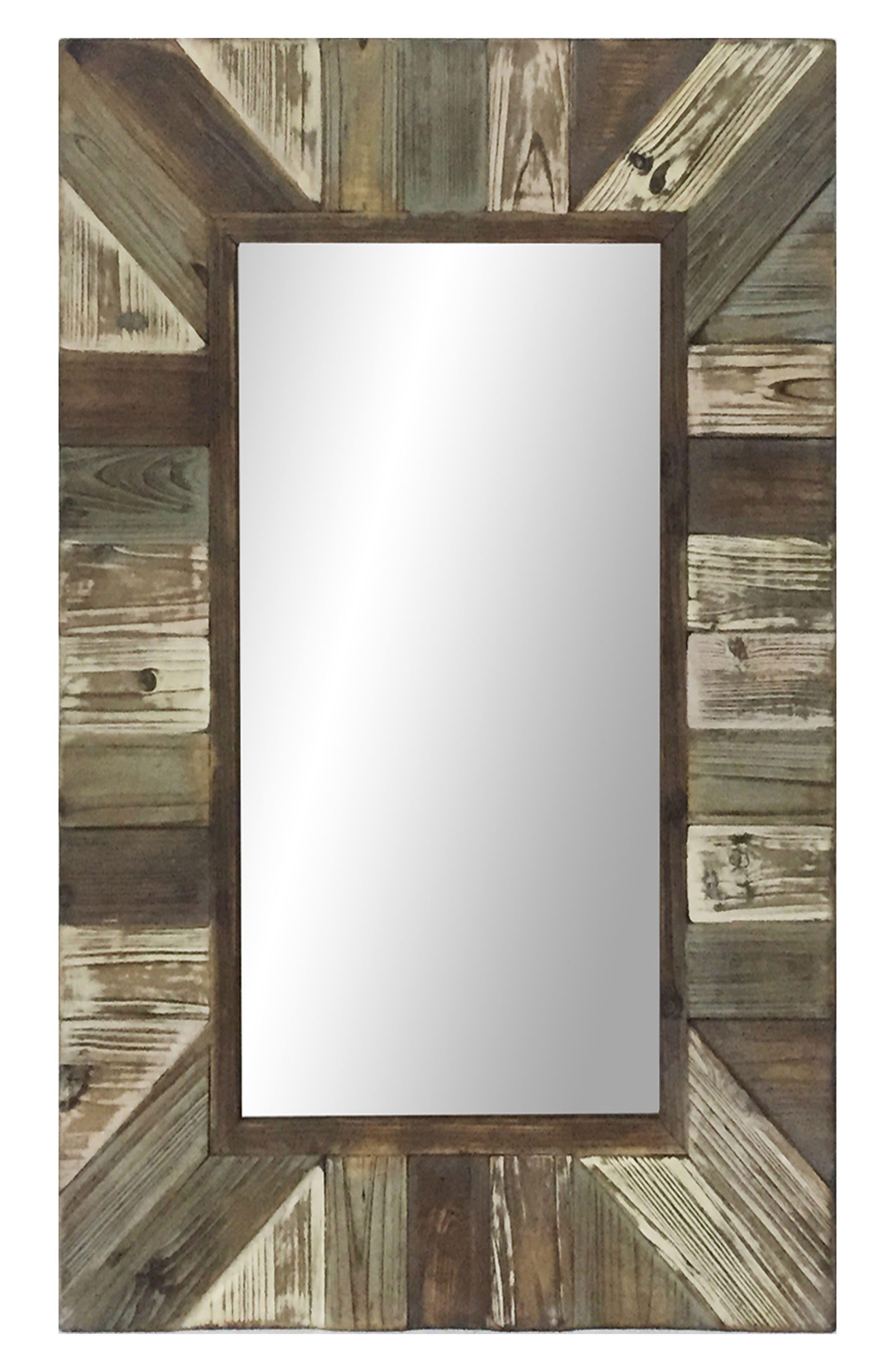 Multicolor Wood Wall Mirror,                         Main,                         color, Multi