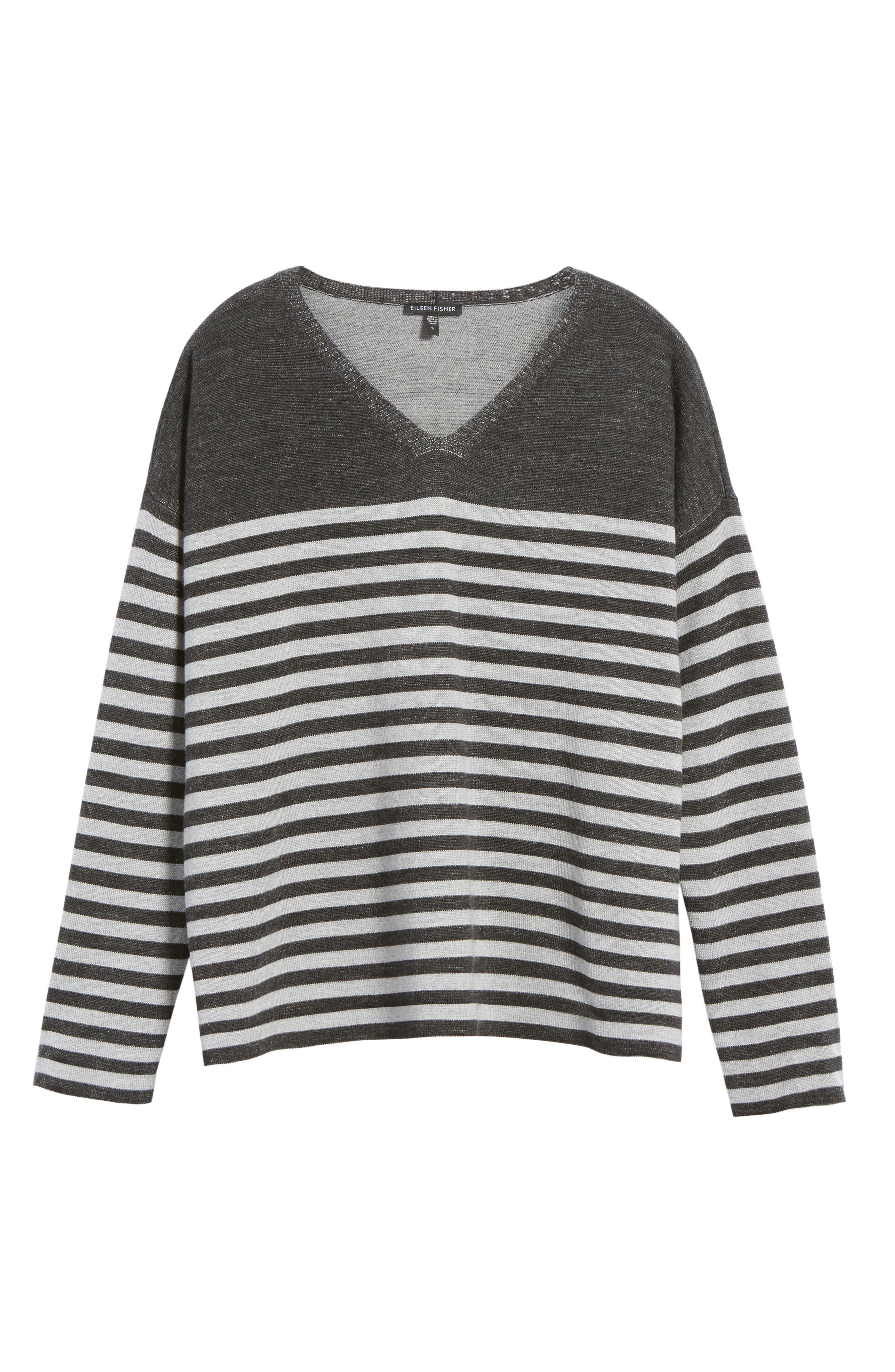 Stripe Merino Wool Pullover,                             Alternate thumbnail 6, color,                             Charcoal/ Dark Pearl