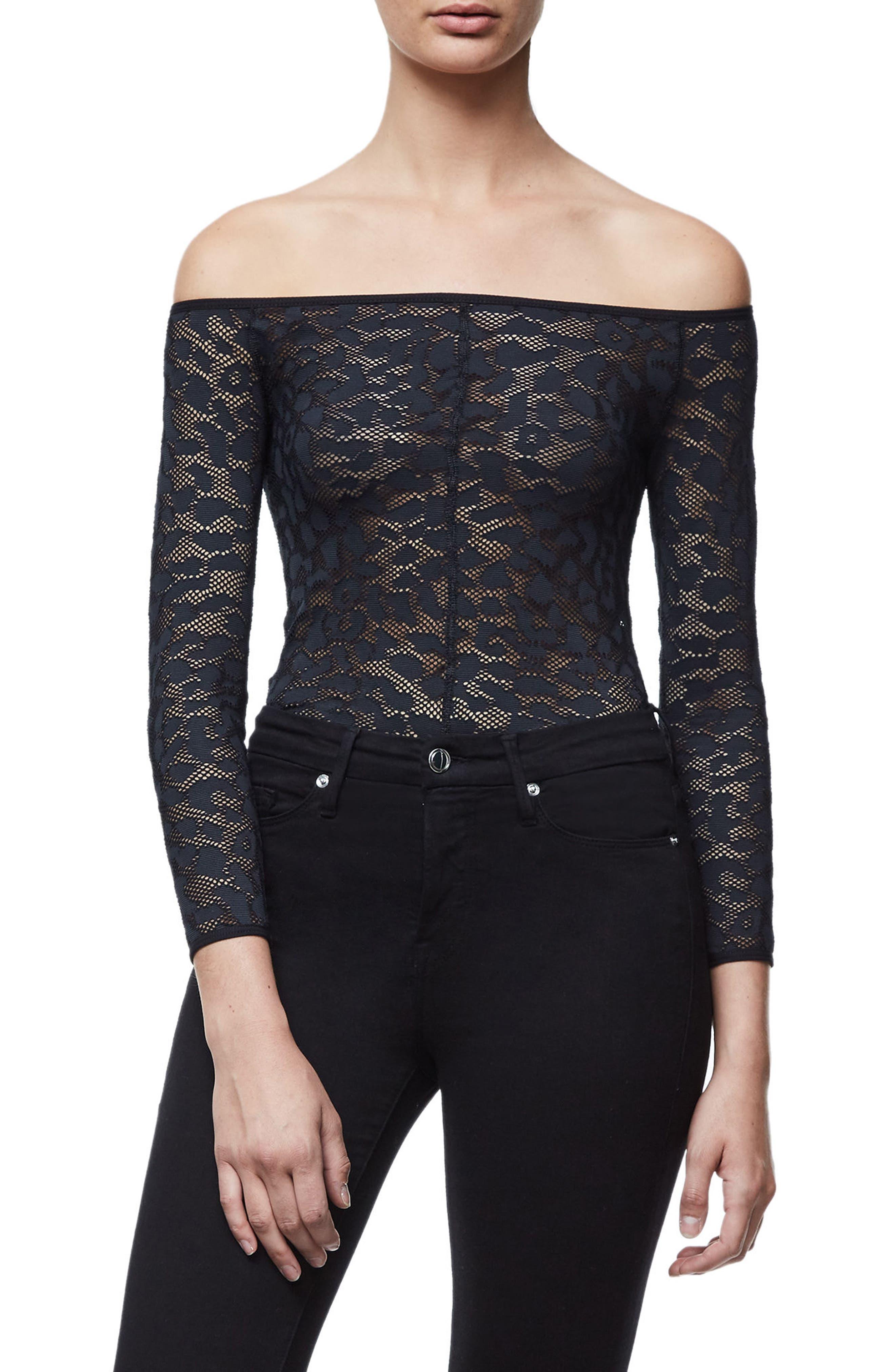 Good Body Shoulder Action Bodysuit,                         Main,                         color, Black