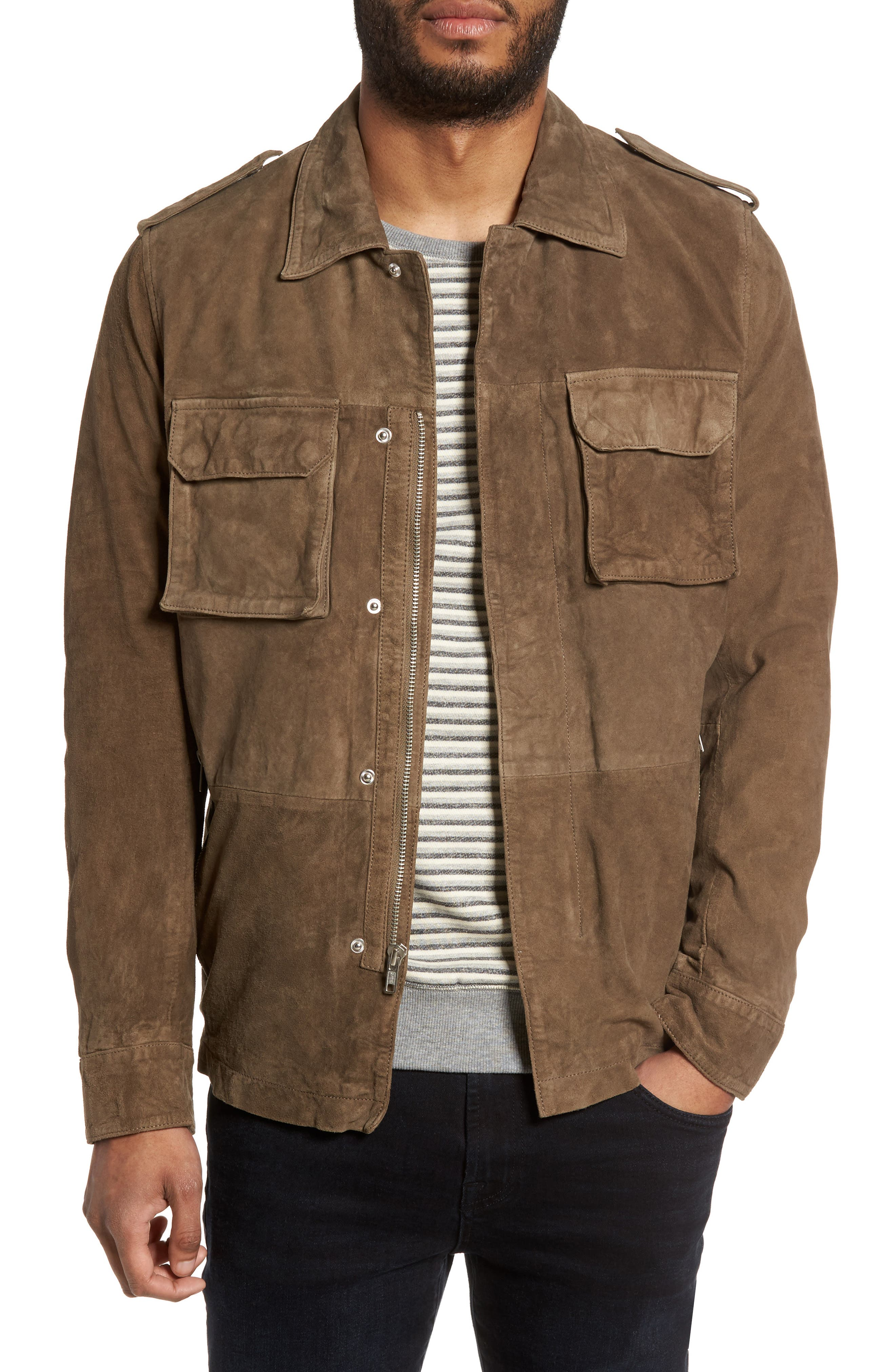 Washed Suede Military Shirt Jacket,                         Main,                         color, Beige/ Dusky Green