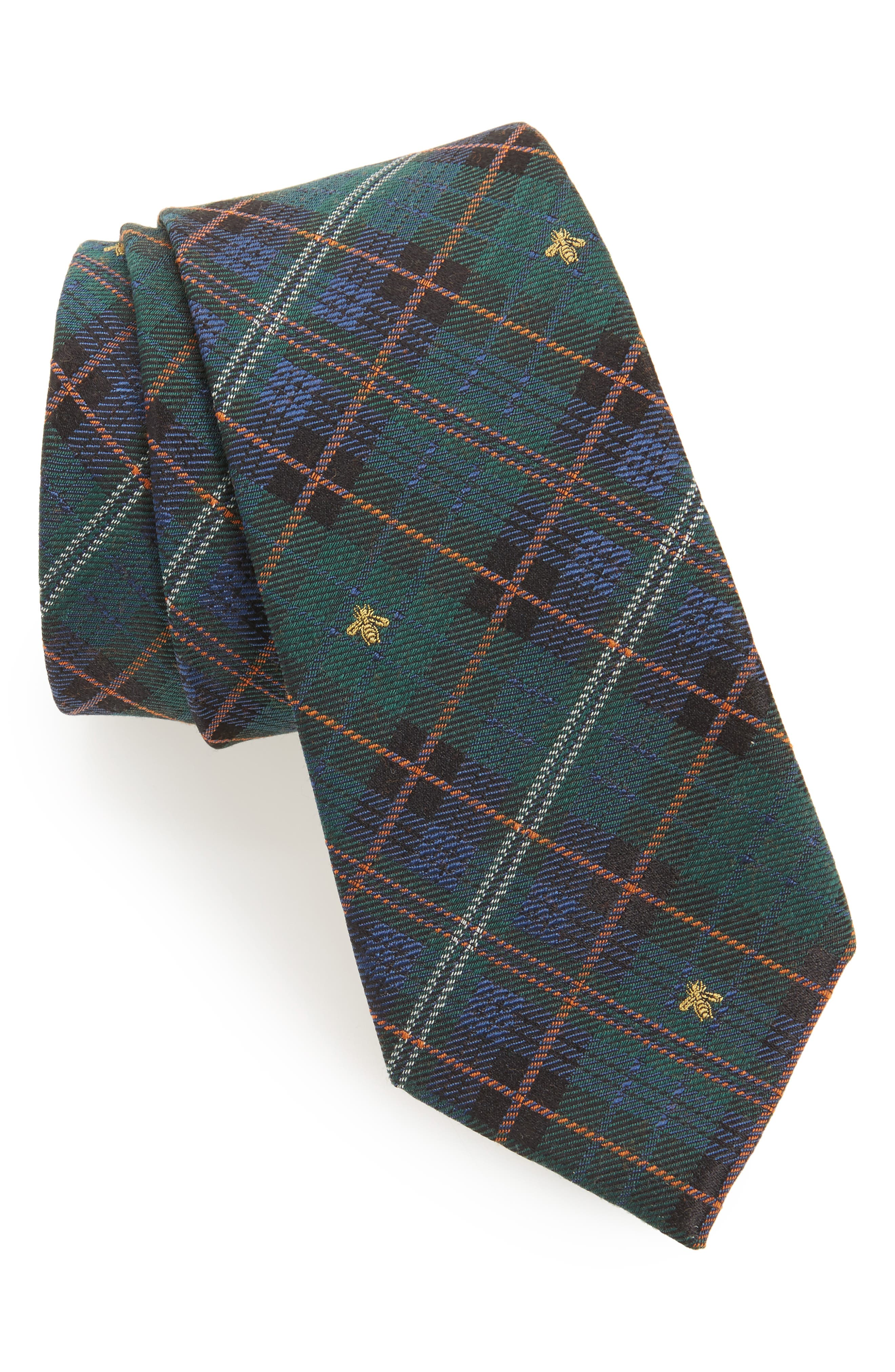Kilt Bee Plaid Jacquard Tie,                         Main,                         color, Green