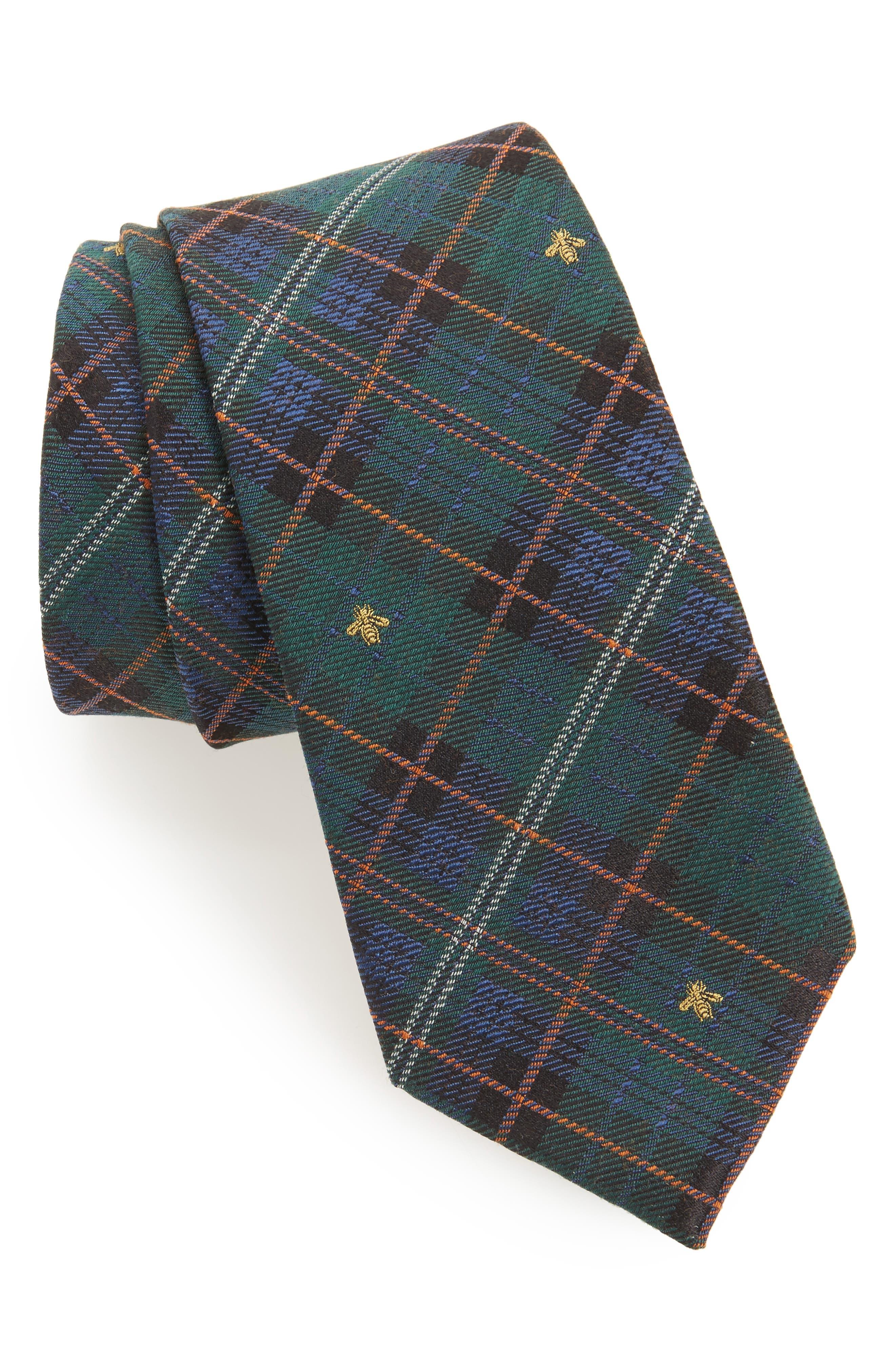 Gucci Kilt Bee Plaid Jacquard Tie