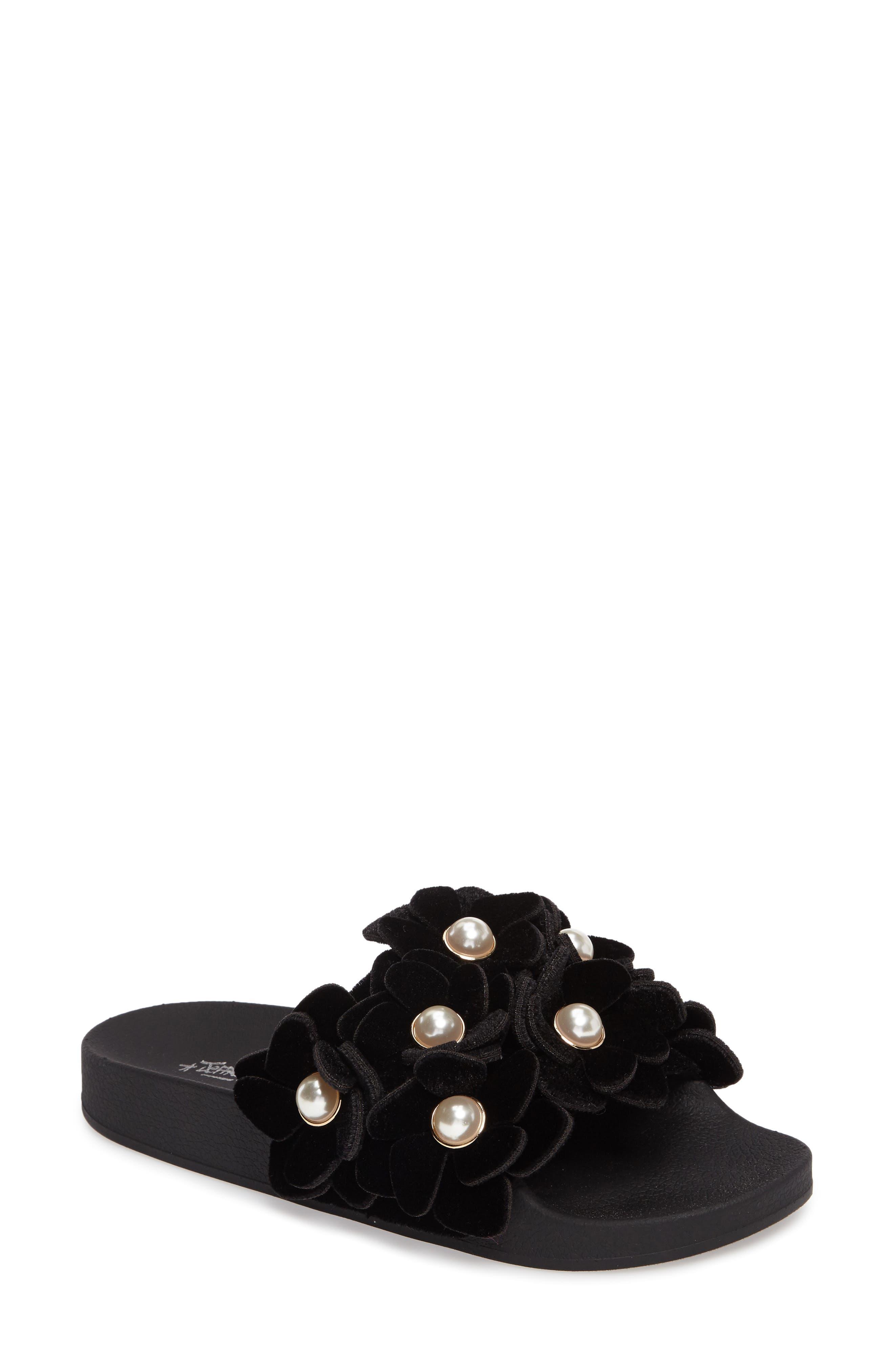 Jeffrey Campbell Jova Flower Embellished Slide Sandal (Women)