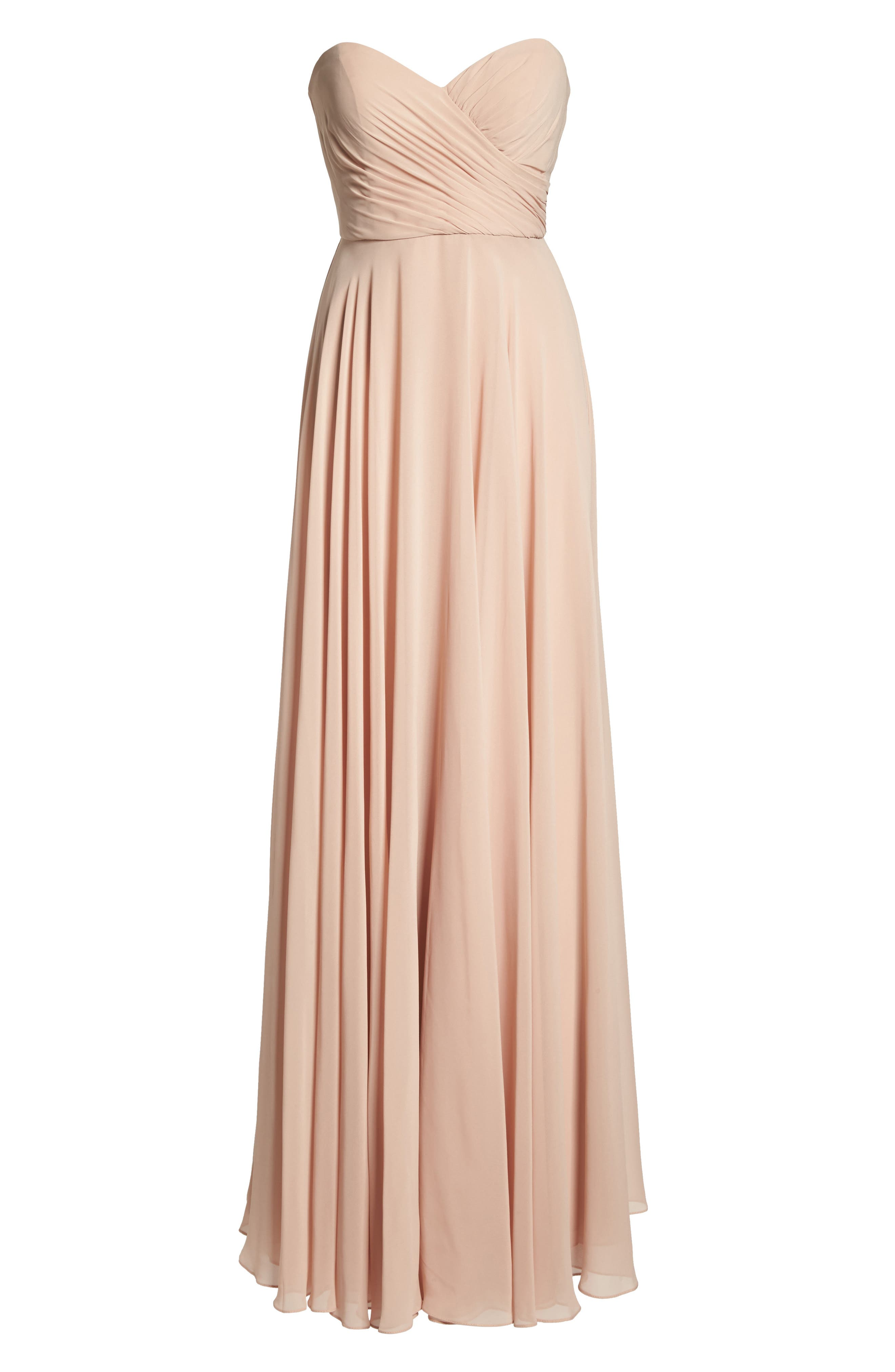 Adeline Strapless Chiffon Gown,                             Alternate thumbnail 6, color,                             Desert Rose