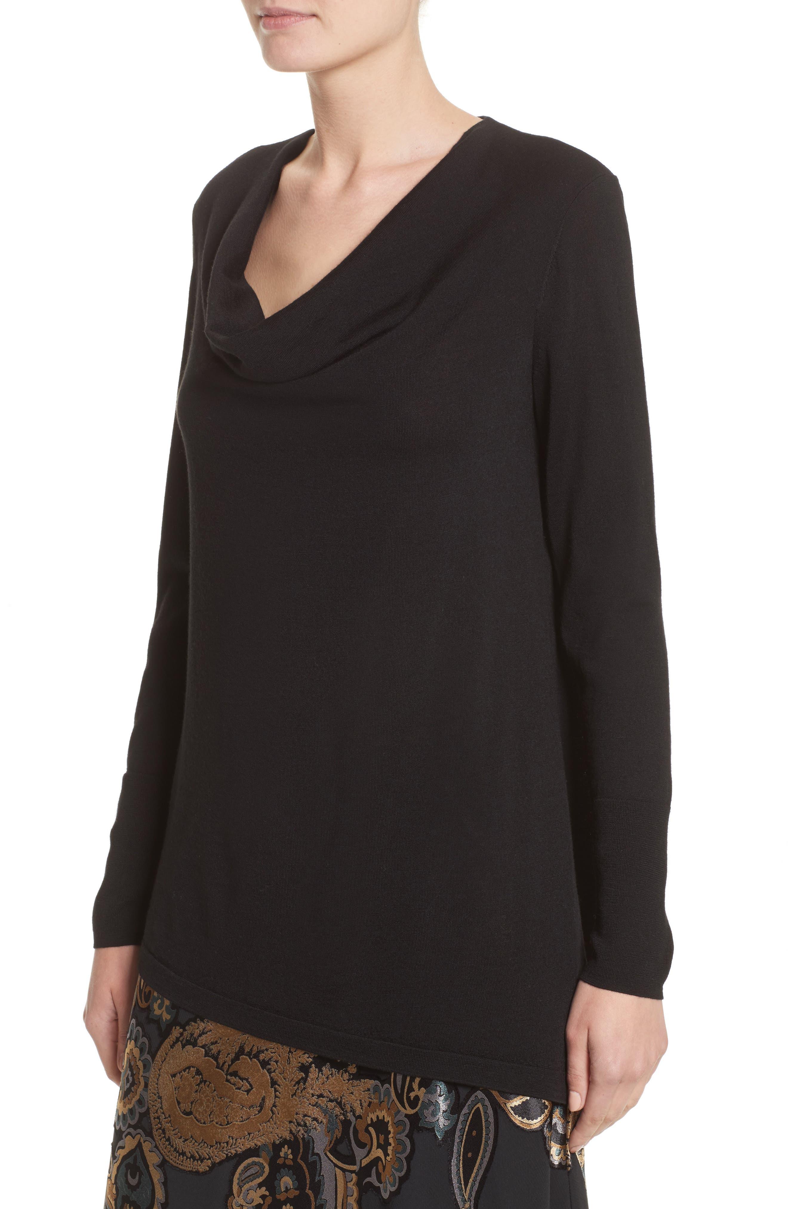 Asymmetrical Cowl Neck Sweater,                             Alternate thumbnail 4, color,                             Black