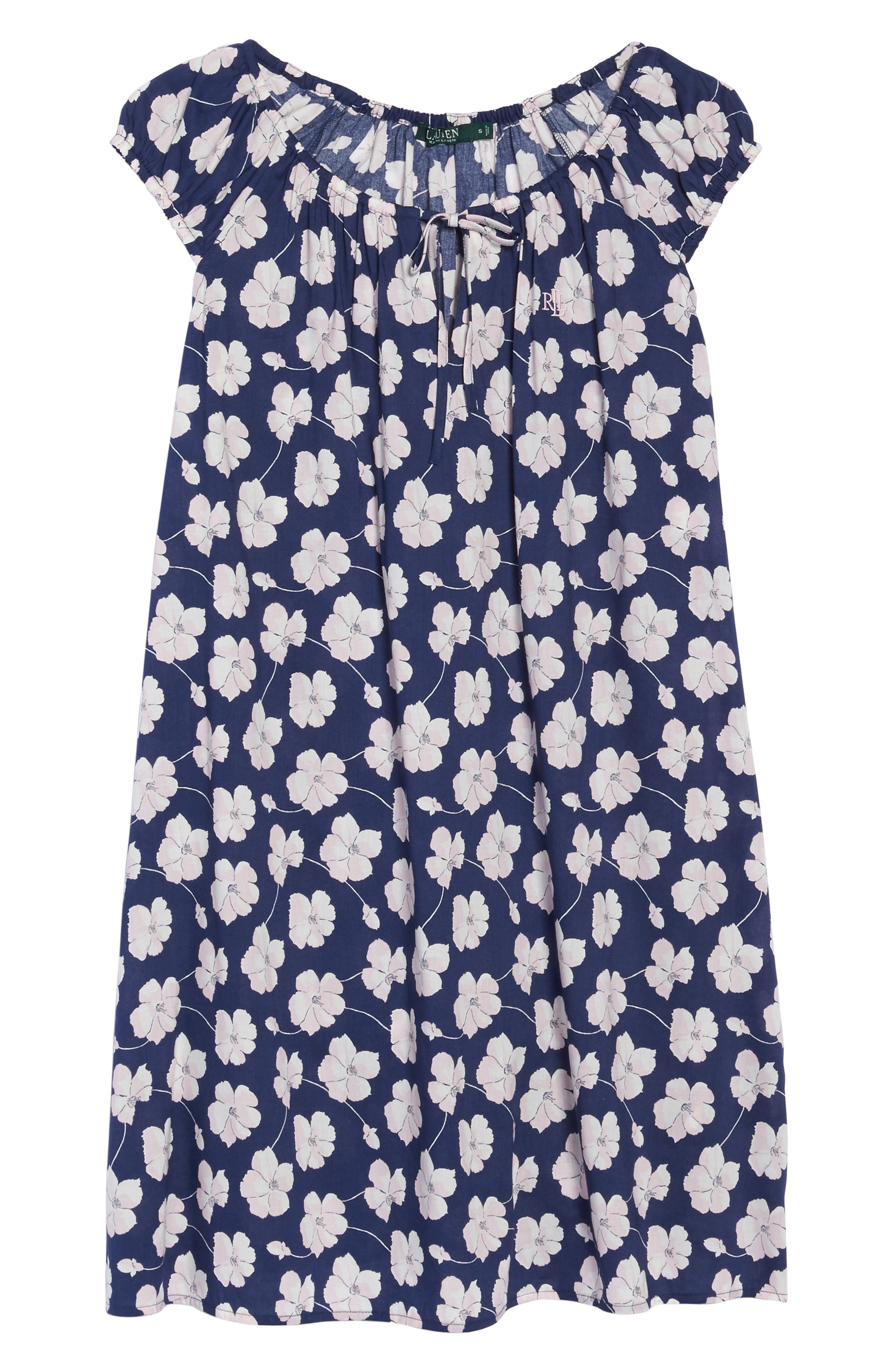 Short Nightgown,                             Alternate thumbnail 4, color,                             Navy Ground Floral