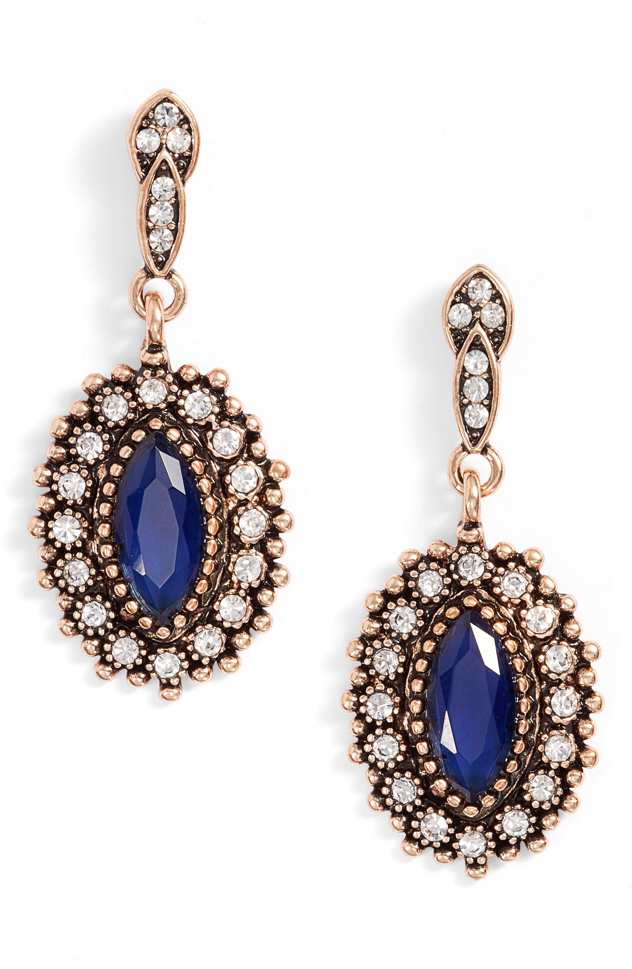 Rosana Drop Earrings,                         Main,                         color, Blue / Gold