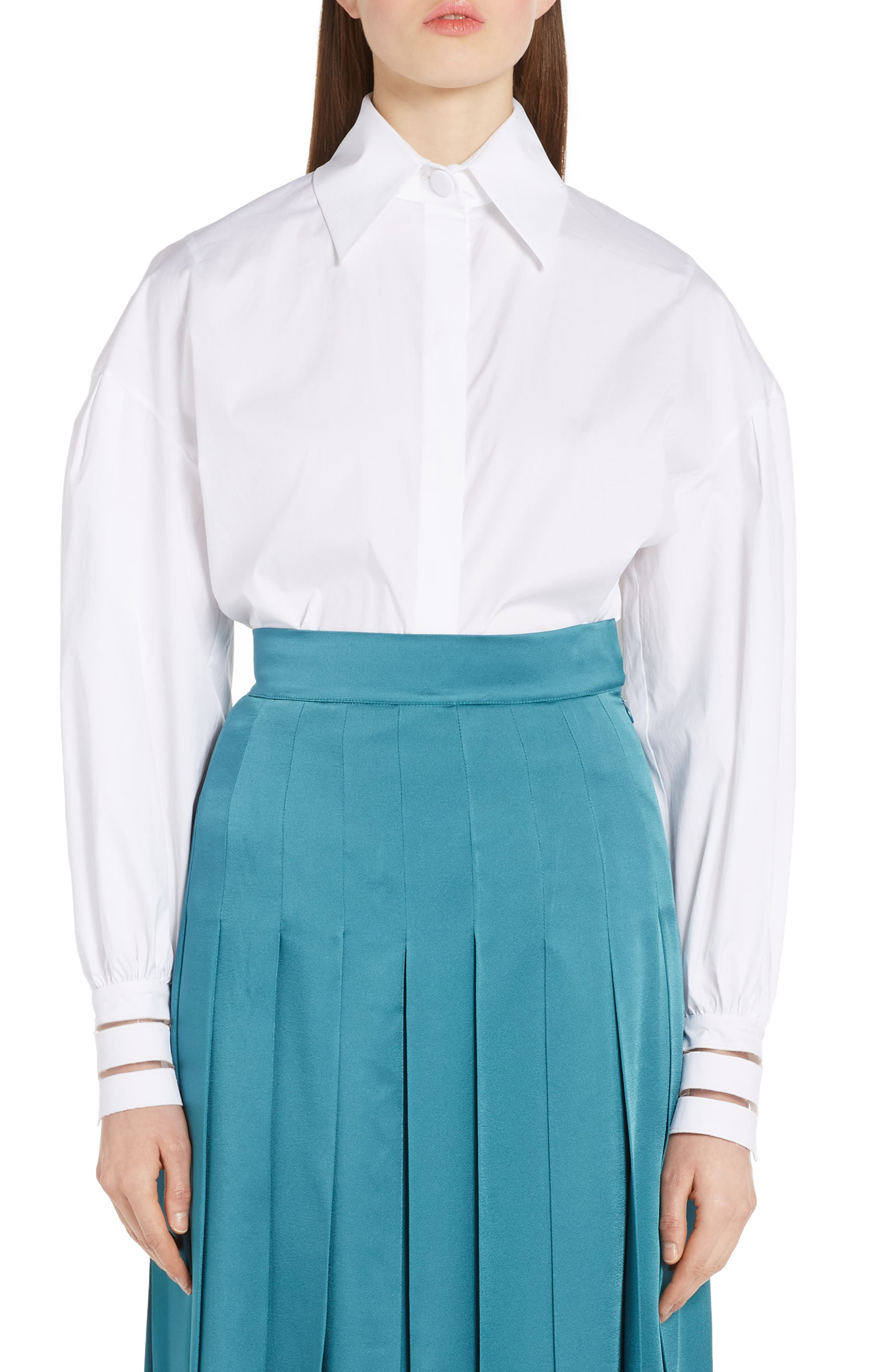 Fendi Bishop Sleeve Cotton Blouse