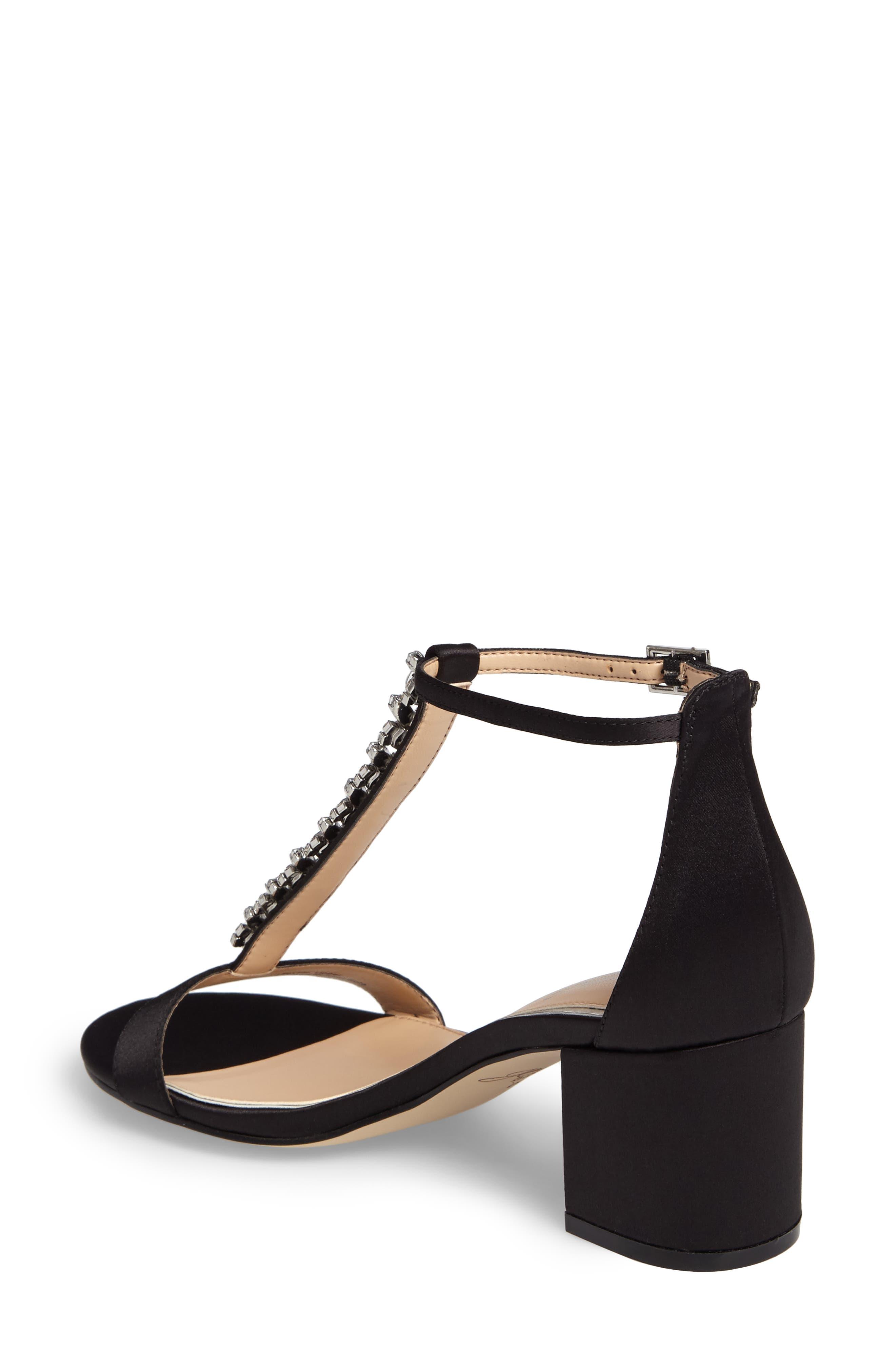 Lindsey Embellished T-Strap Sandal,                             Alternate thumbnail 2, color,                             Black Satin