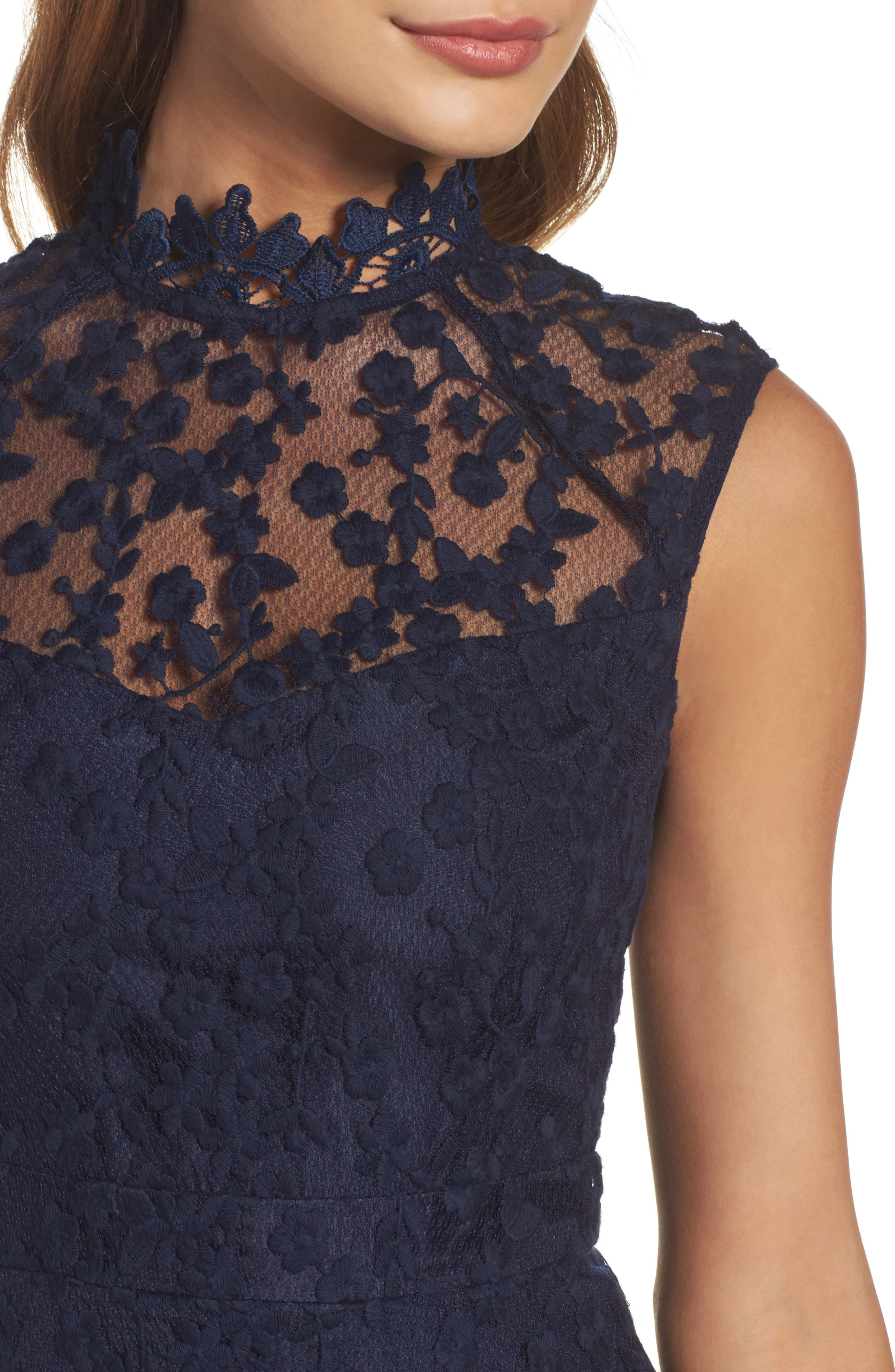 Alternate Image 4  - BB Dakota Embroidered Mesh Fit & Flare Dress