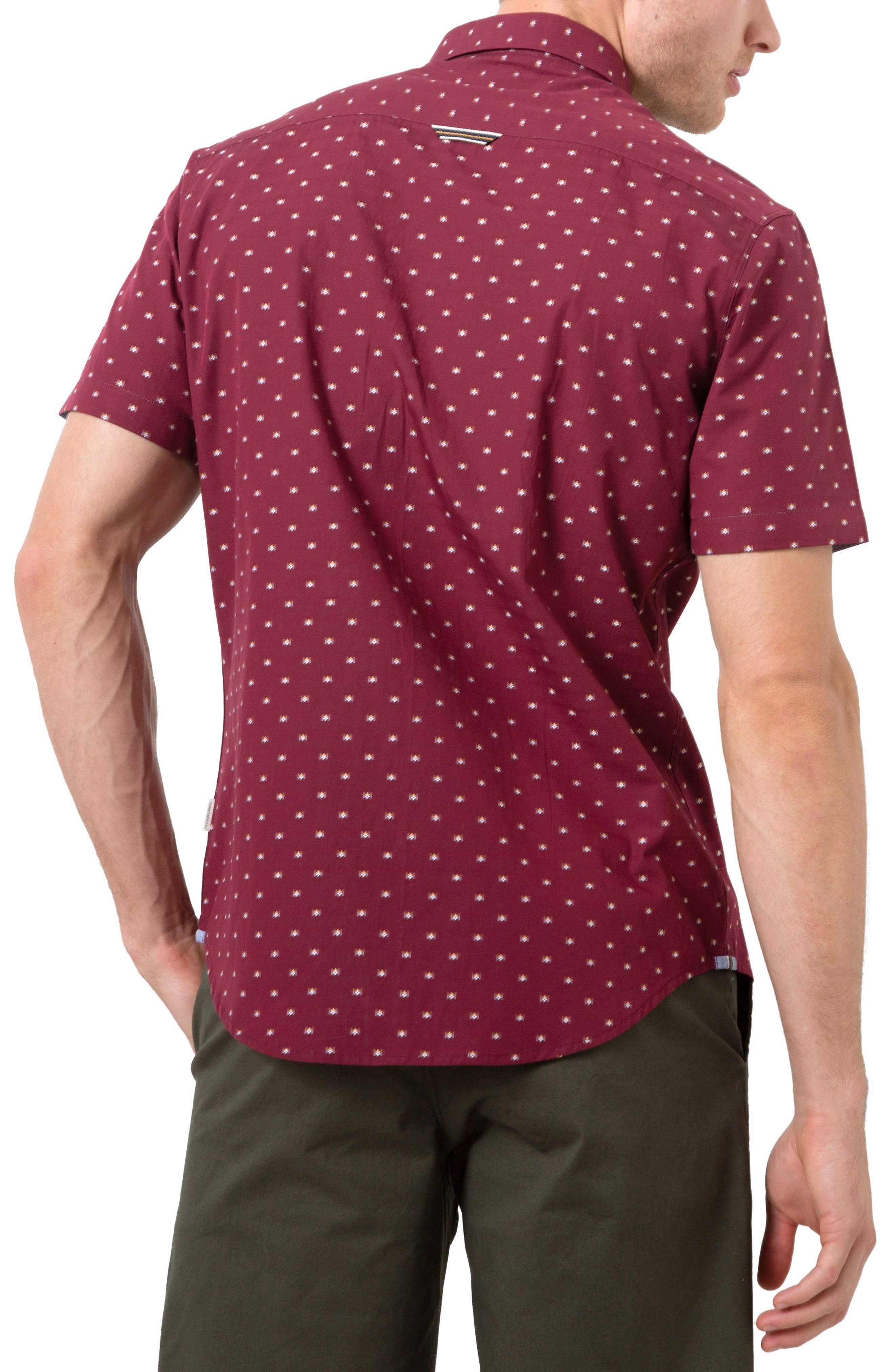 Star Quality Dobby Woven Shirt,                             Alternate thumbnail 2, color,                             Burgundy