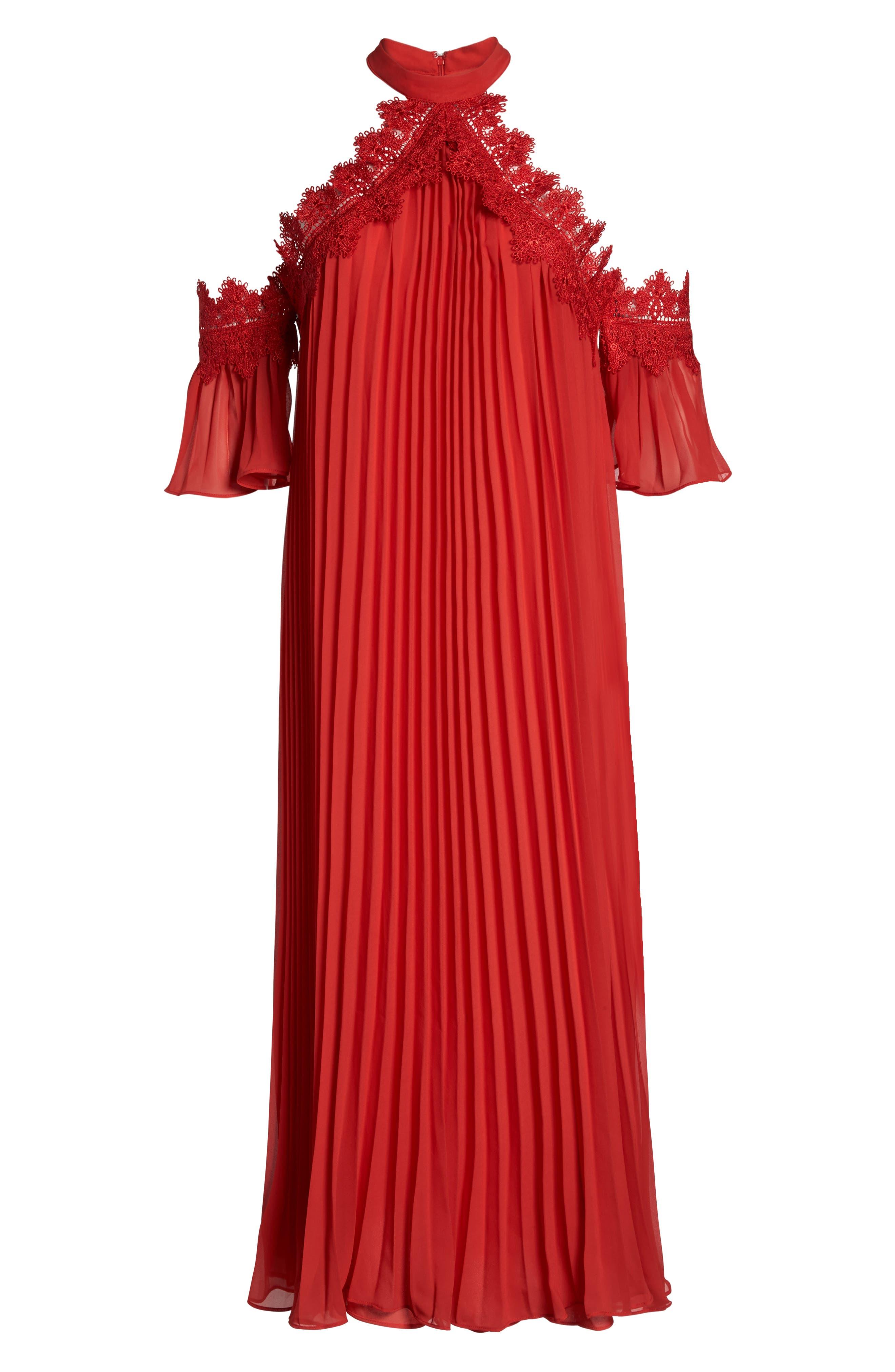 Lace Trim Pleated Midi Dress,                             Alternate thumbnail 6, color,                             Red