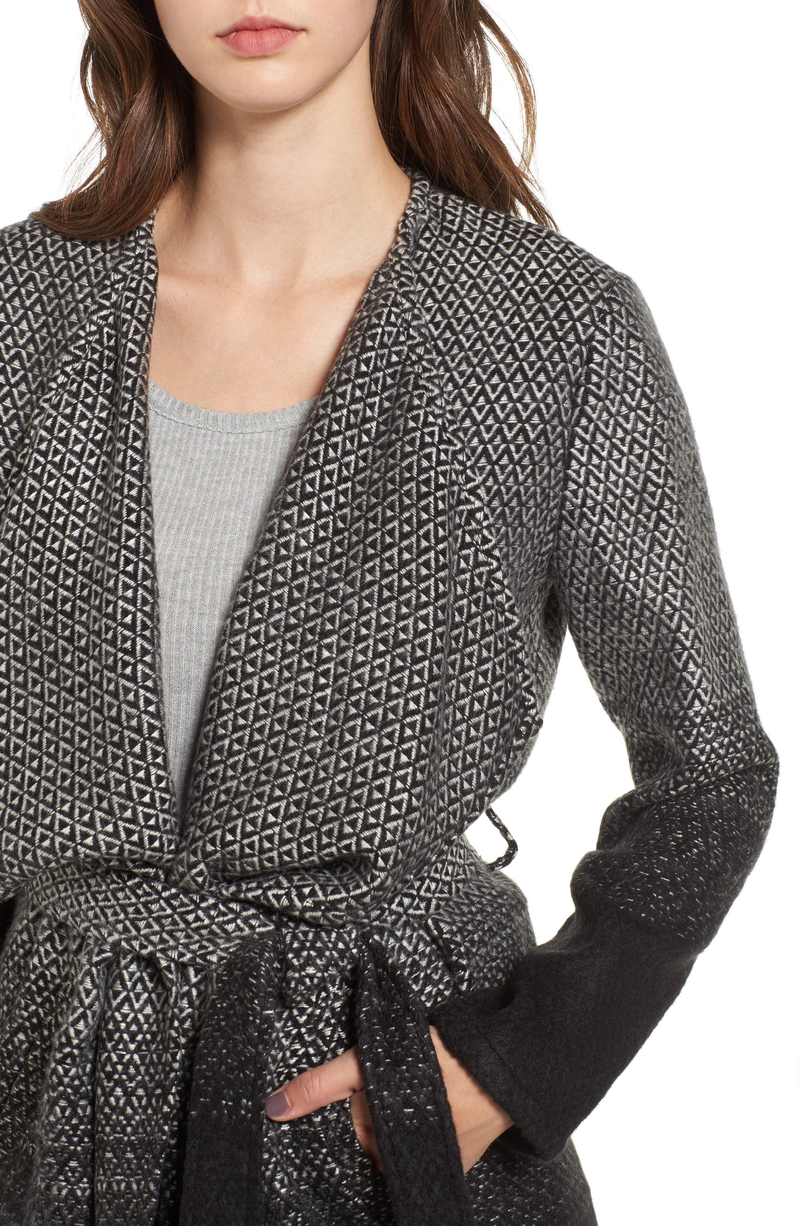Myles Ombré Blanket Coat,                             Alternate thumbnail 4, color,                             Black