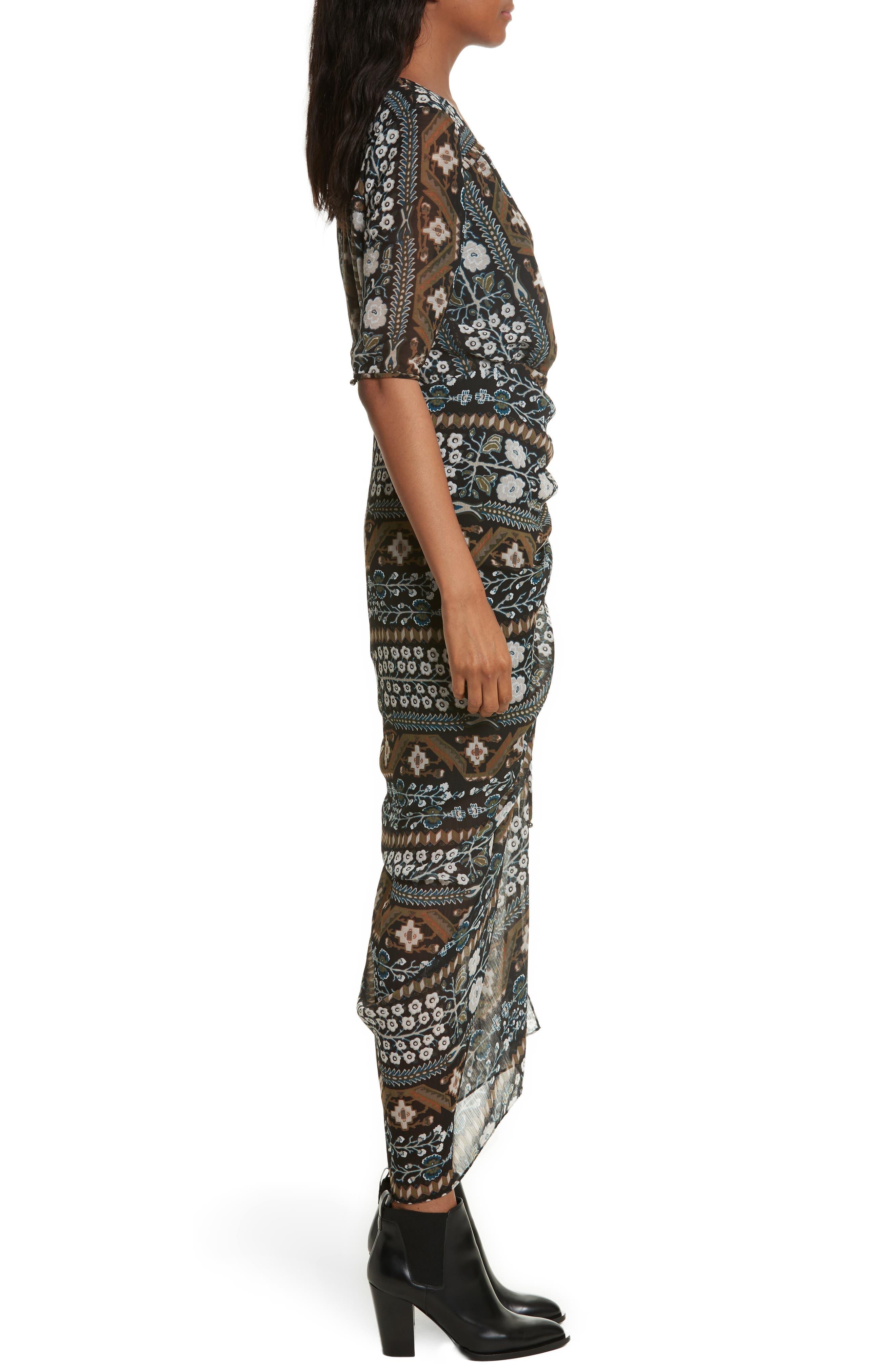 Perla Ruched Midi Dress,                             Alternate thumbnail 3, color,                             Army/ Black Multi