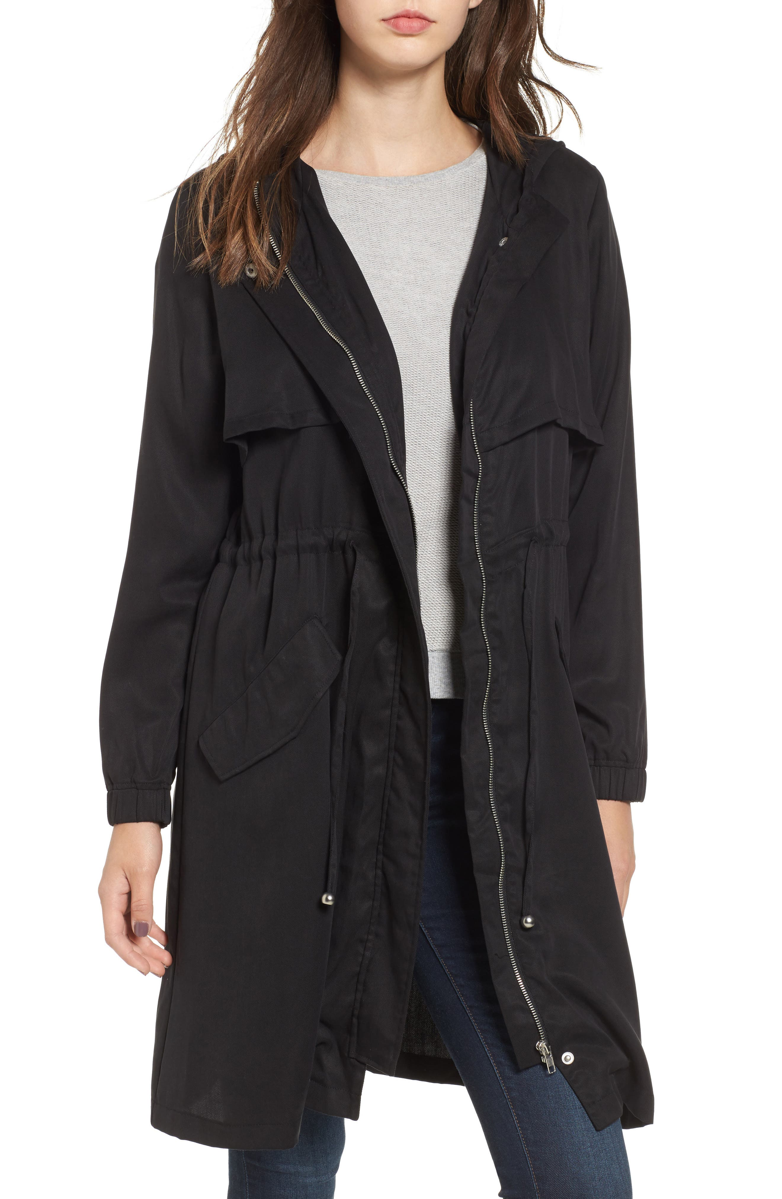 Tyler Hooded Trench Coat,                             Main thumbnail 1, color,                             Black