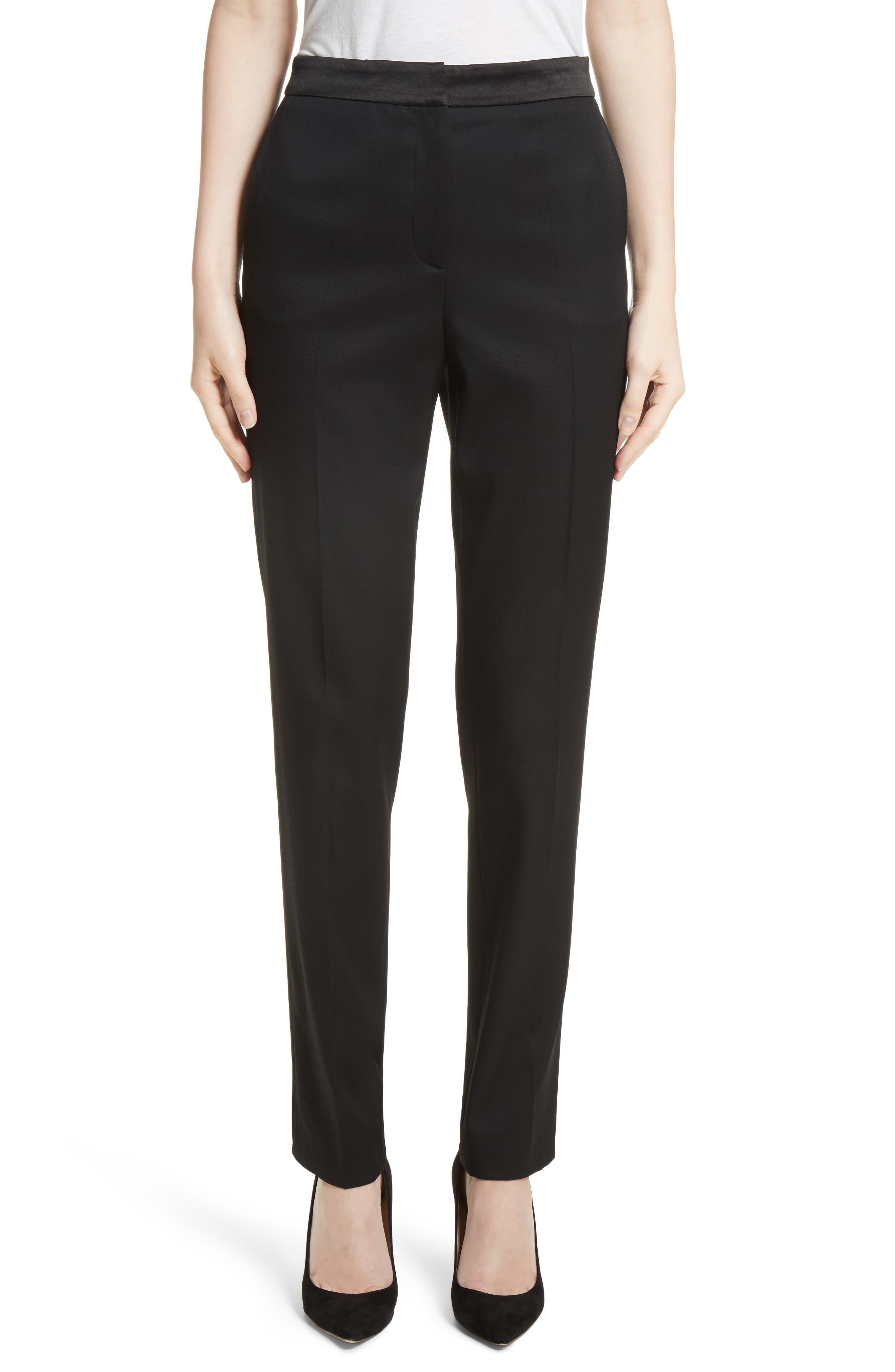 Satin Trim Stretch Wool Gabardine Pants,                         Main,                         color, Black
